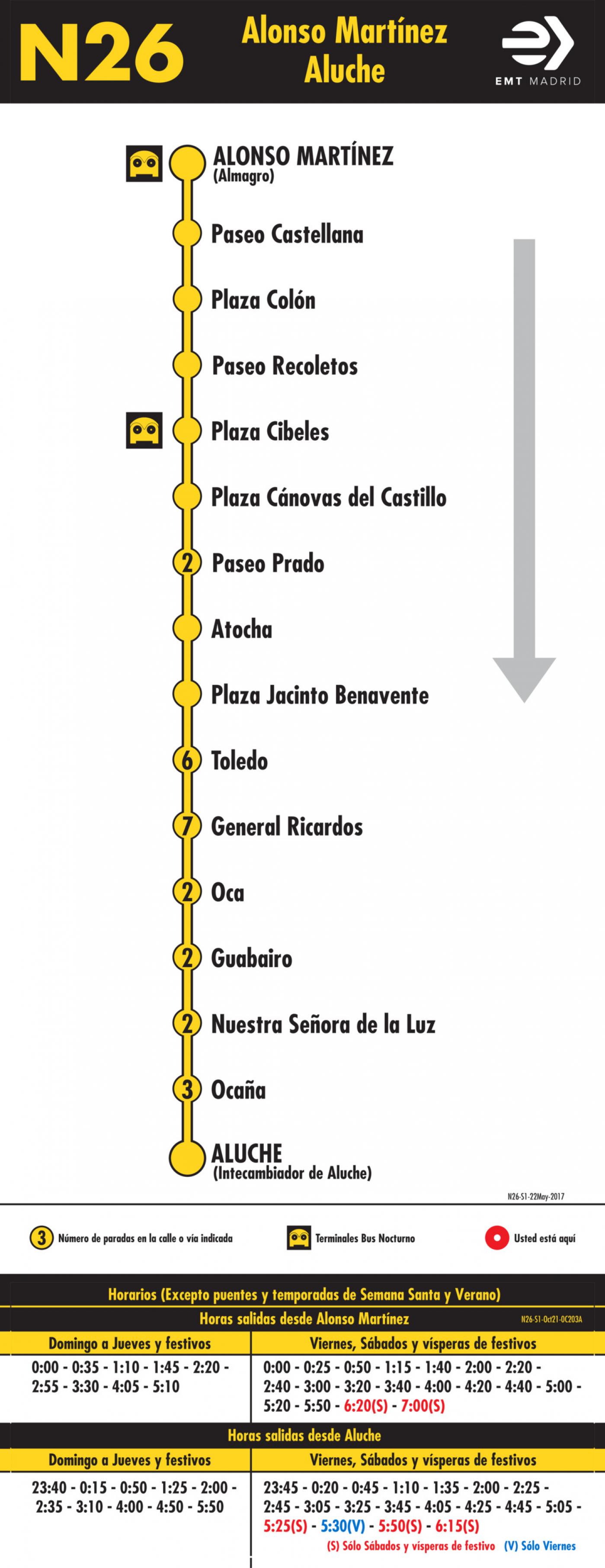 Tabla de horarios y frecuencias de paso en sentido ida Línea N26: Alonso Martínez - Aluche (búho)