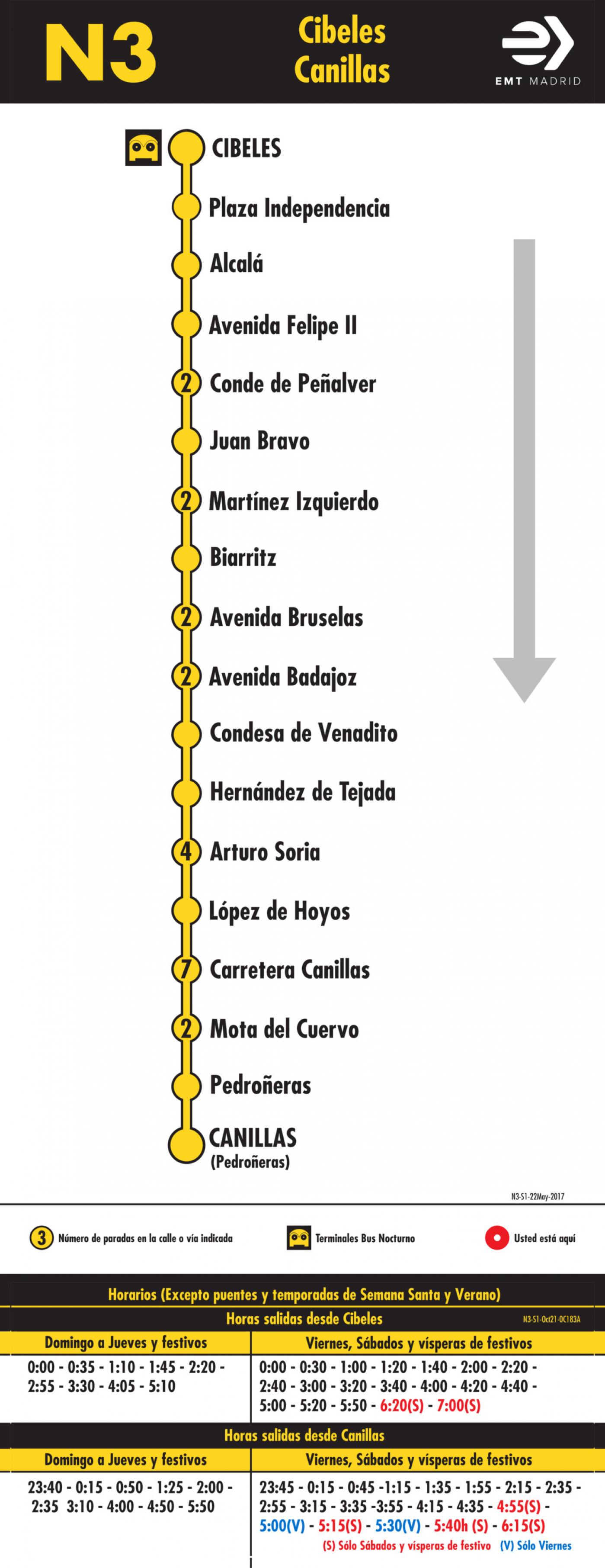 Tabla de horarios y frecuencias de paso en sentido ida Línea N3: Plaza de Cibeles - Canillas (búho)
