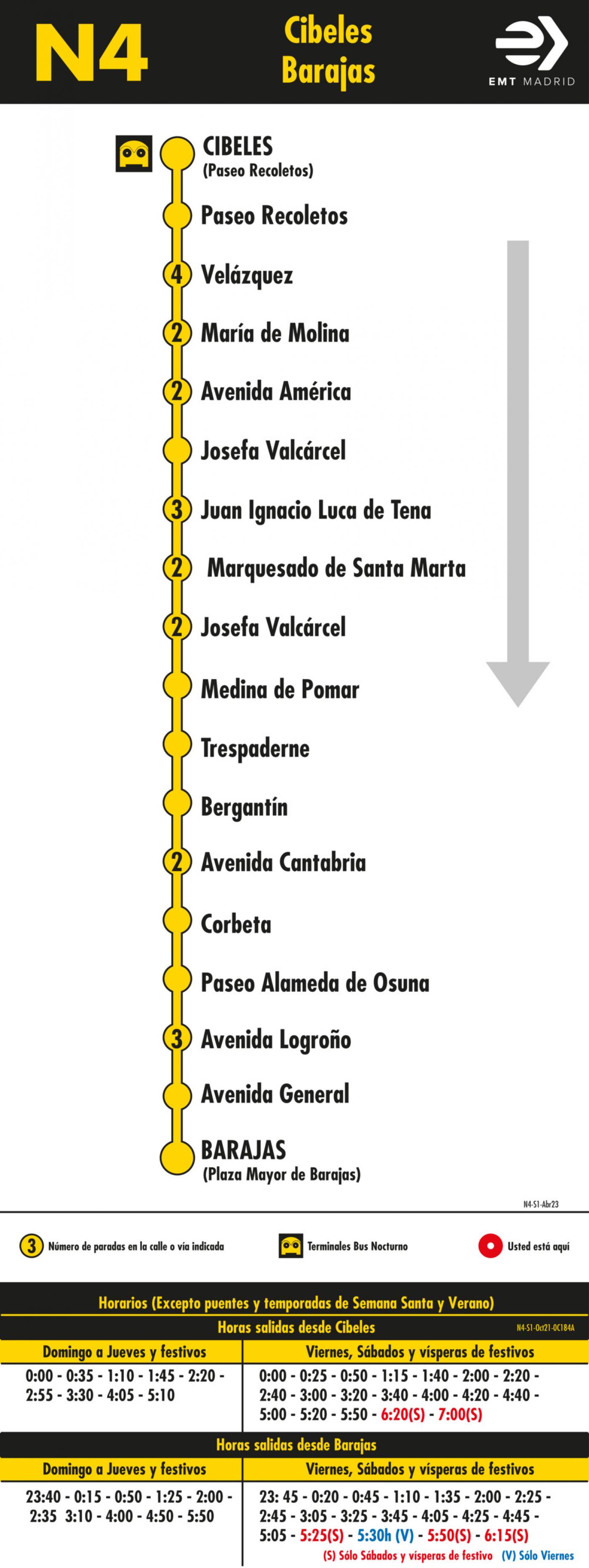 Tabla de horarios y frecuencias de paso en sentido ida Línea N4: Plaza de Cibeles - Barajas (búho)