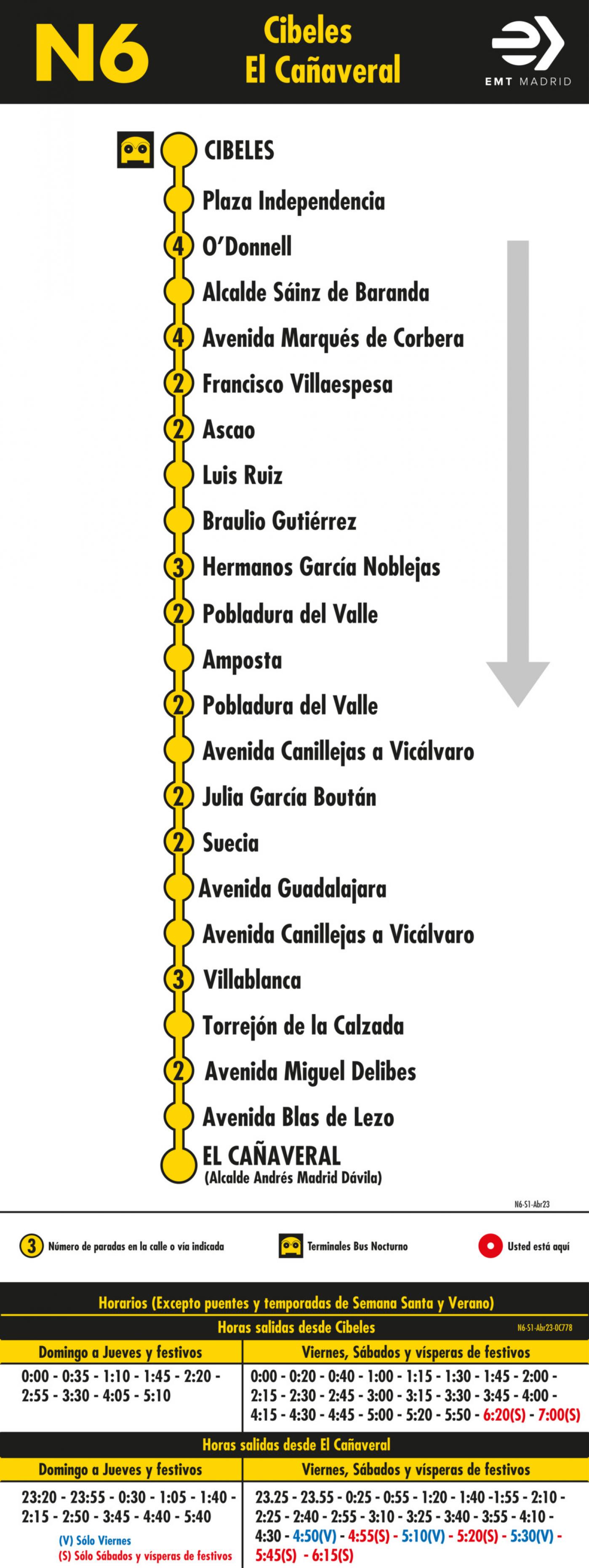 Tabla de horarios y frecuencias de paso en sentido ida Línea N6: Plaza de Cibeles - Las Rosas (búho)