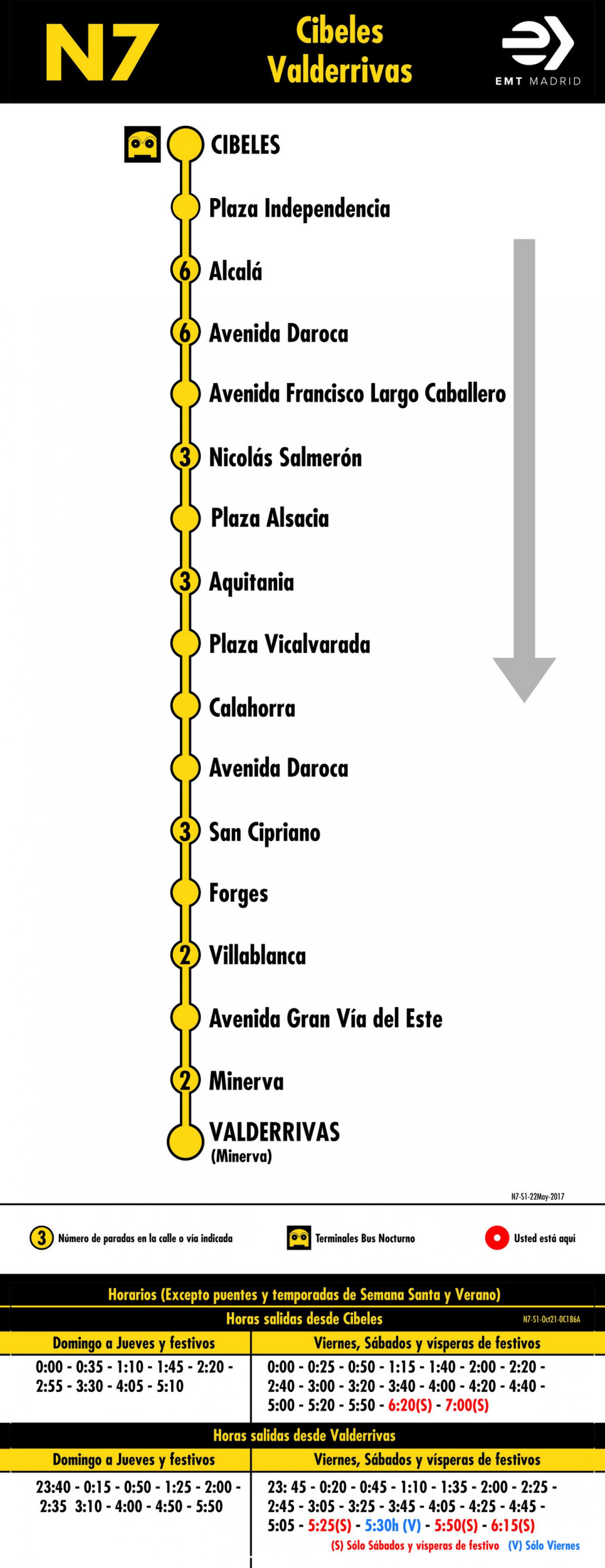 Tabla de horarios y frecuencias de paso en sentido ida Línea N7: Plaza de Cibeles - Vicálvaro (búho)