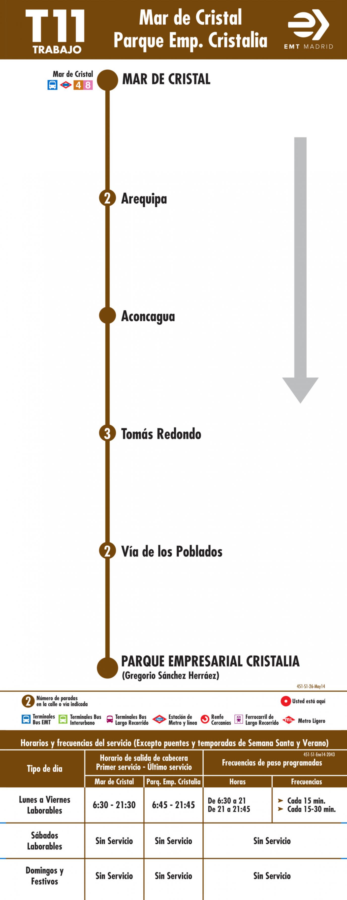 Tabla de horarios y frecuencias de paso en sentido ida Línea T11: Mar de Cristal - Parque Empresarial Cristalia