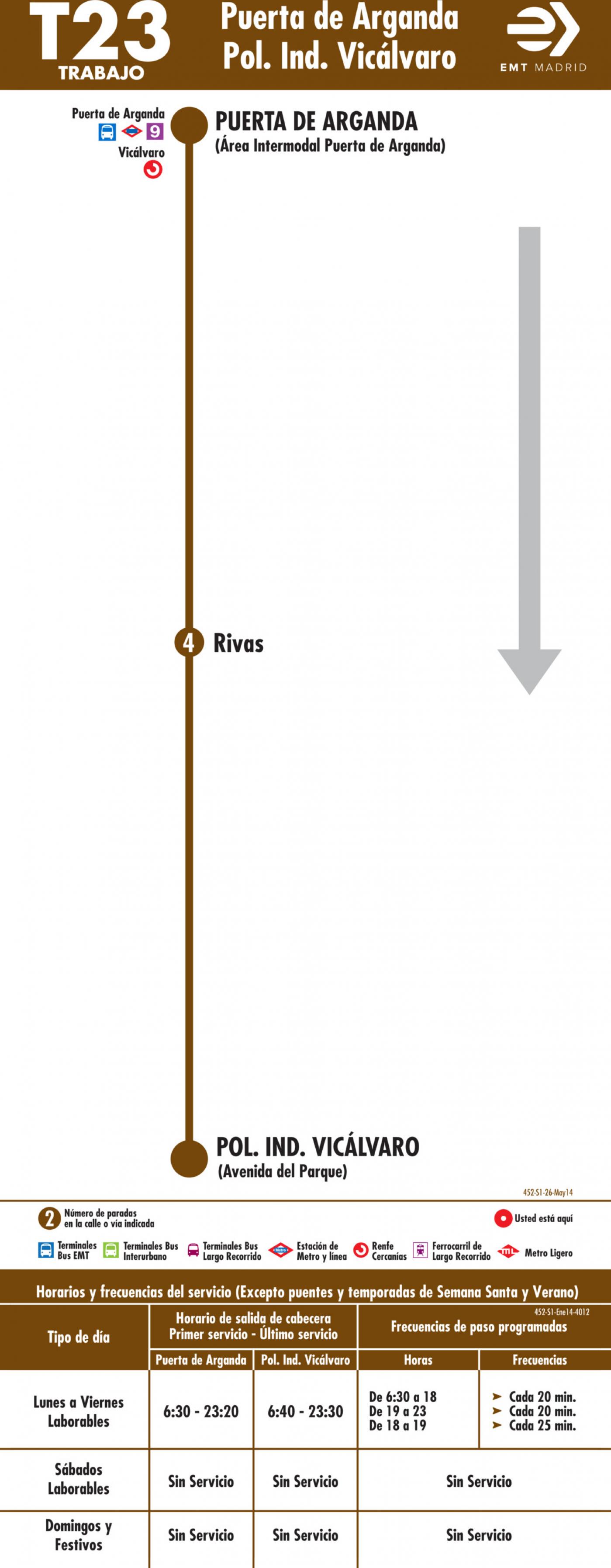 Tabla de horarios y frecuencias de paso en sentido ida Línea T23: Puerta de Arganda - Polígono Industrial de Vicálvaro