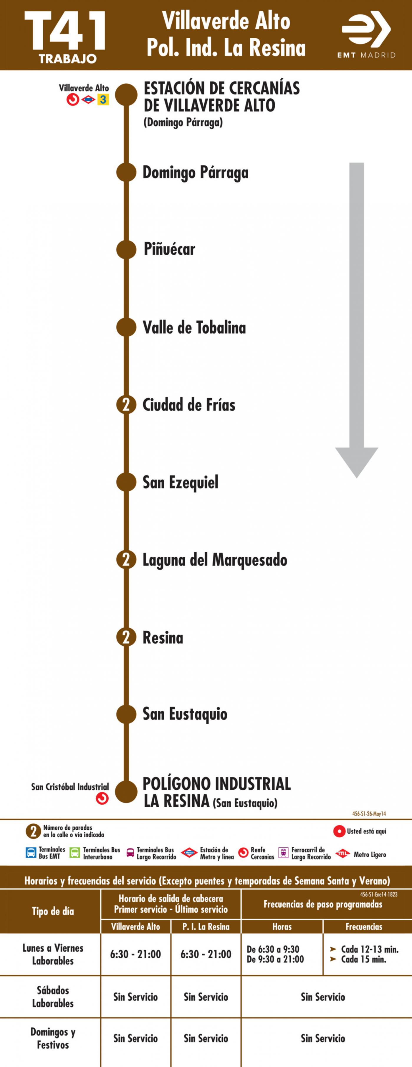 Tabla de horarios y frecuencias de paso en sentido ida Línea T41: Estación Cercanías RENFE Villaverde Alto - Polígono Industrial la Resina