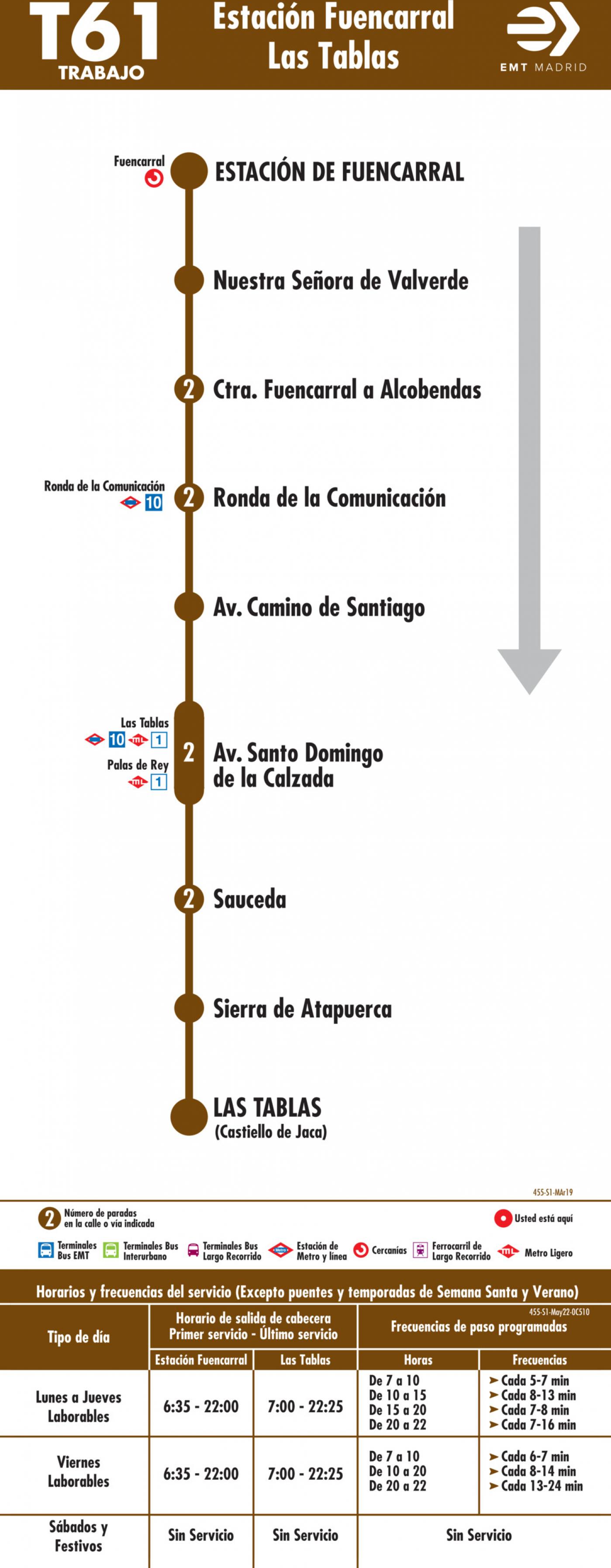 Tabla de horarios y frecuencias de paso en sentido ida Línea T61: Estación Cercanías RENFE Fuencarral - Telefónica