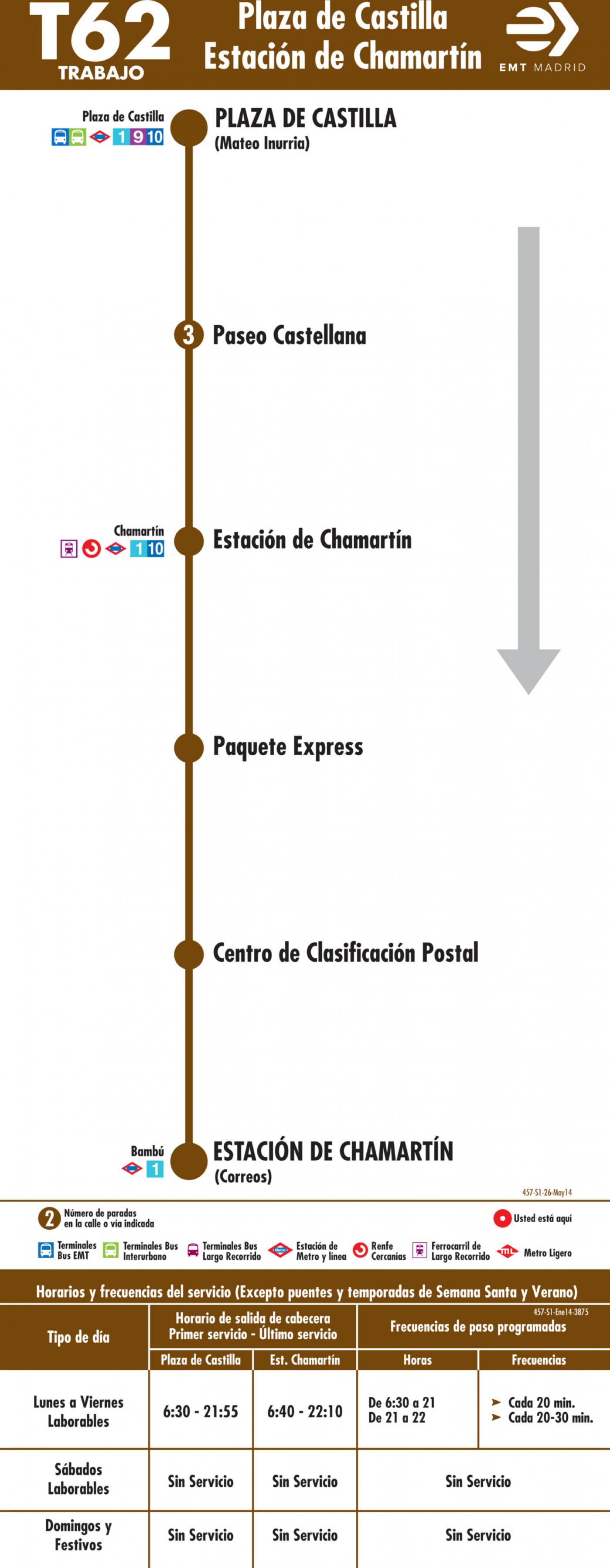 Tabla de horarios y frecuencias de paso en sentido ida Línea T62: Plaza de Castilla - Estación de Chamartín