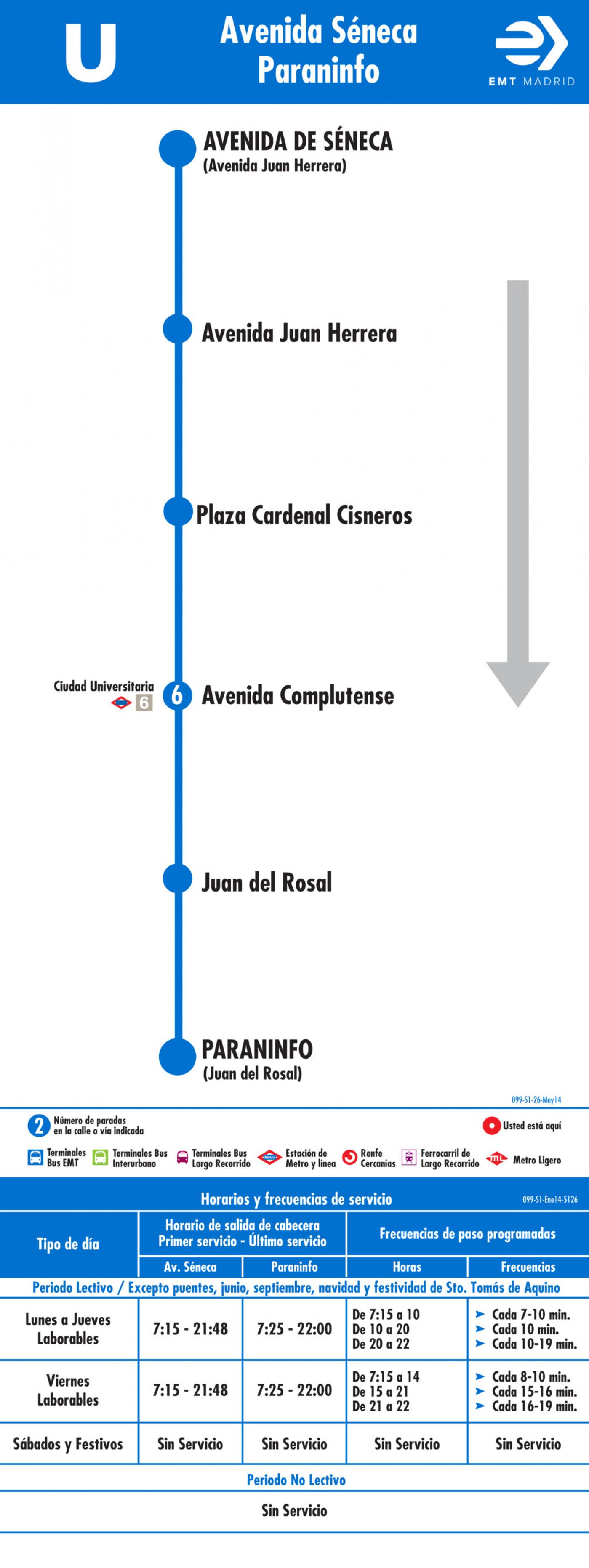 Tabla de horarios y frecuencias de paso en sentido ida Línea U: Avenida de Séneca - Paraninfo Universidad