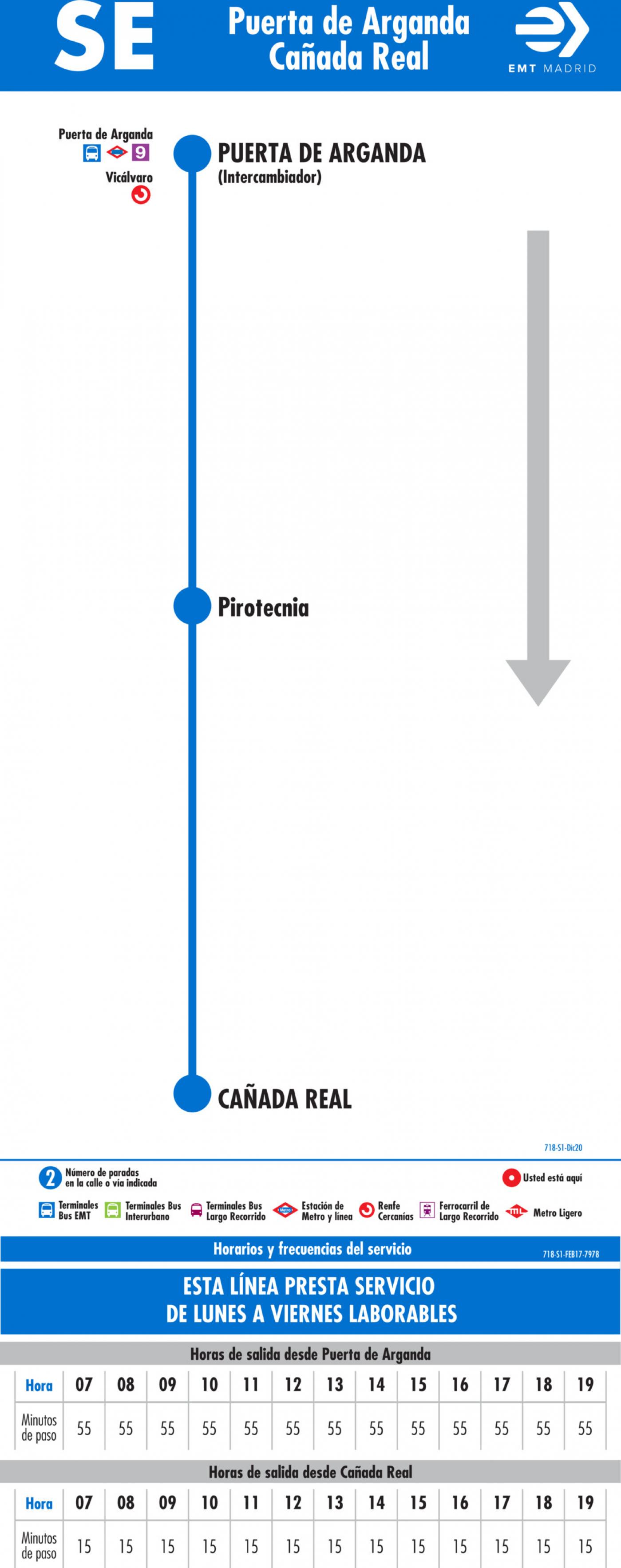 Tabla de horarios y frecuencias de paso en sentido ida Línea SE 718: Puerta de Arganda - Cañada Real
