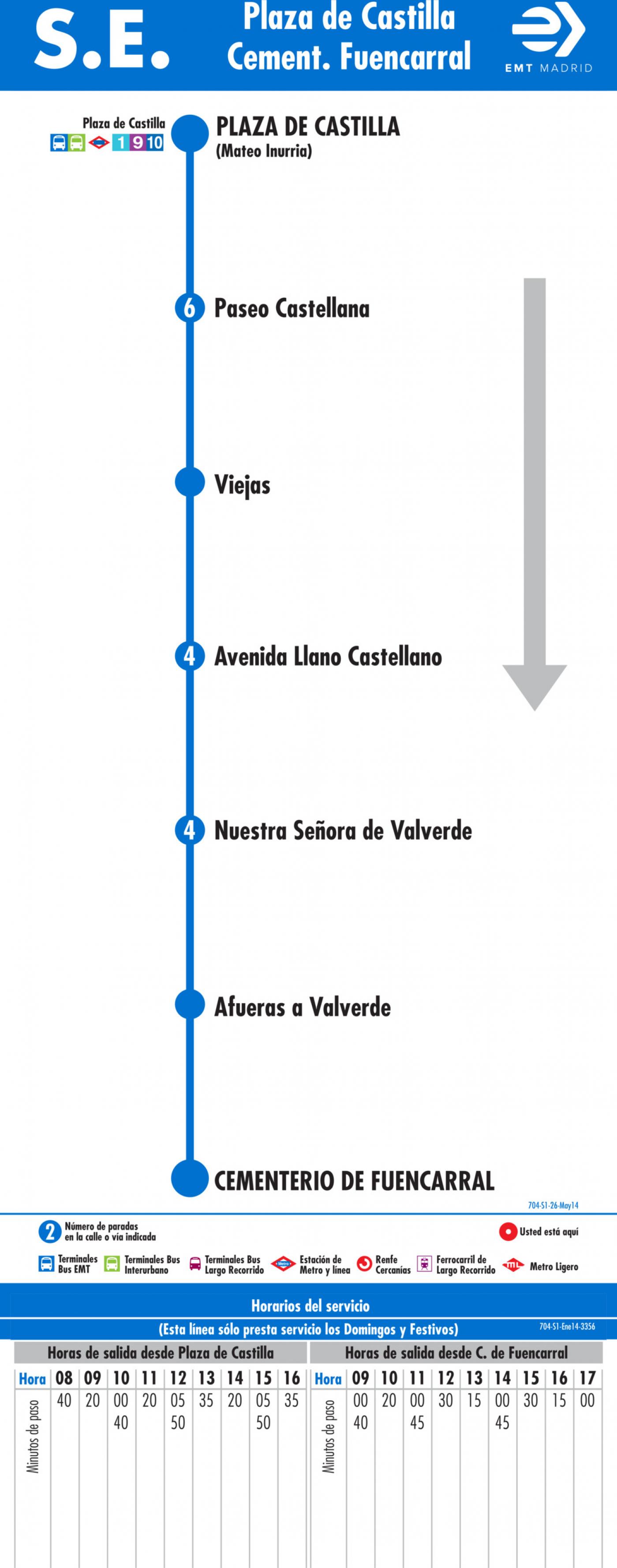 Tabla de horarios y frecuencias de paso en sentido ida Línea SE 704: Plaza de Castilla - Cementerio de Fuencarral