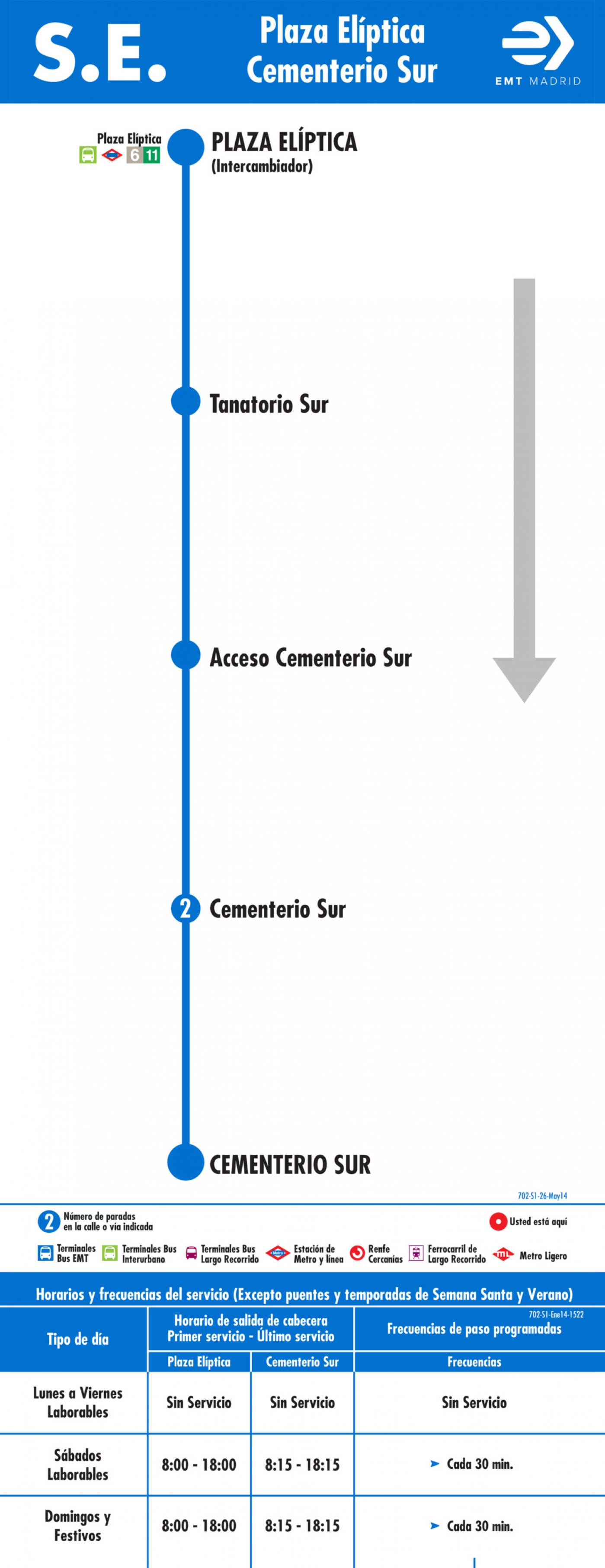 Tabla de horarios y frecuencias de paso en sentido ida Línea SE 702: Plaza Elíptica - Cementerio Sur