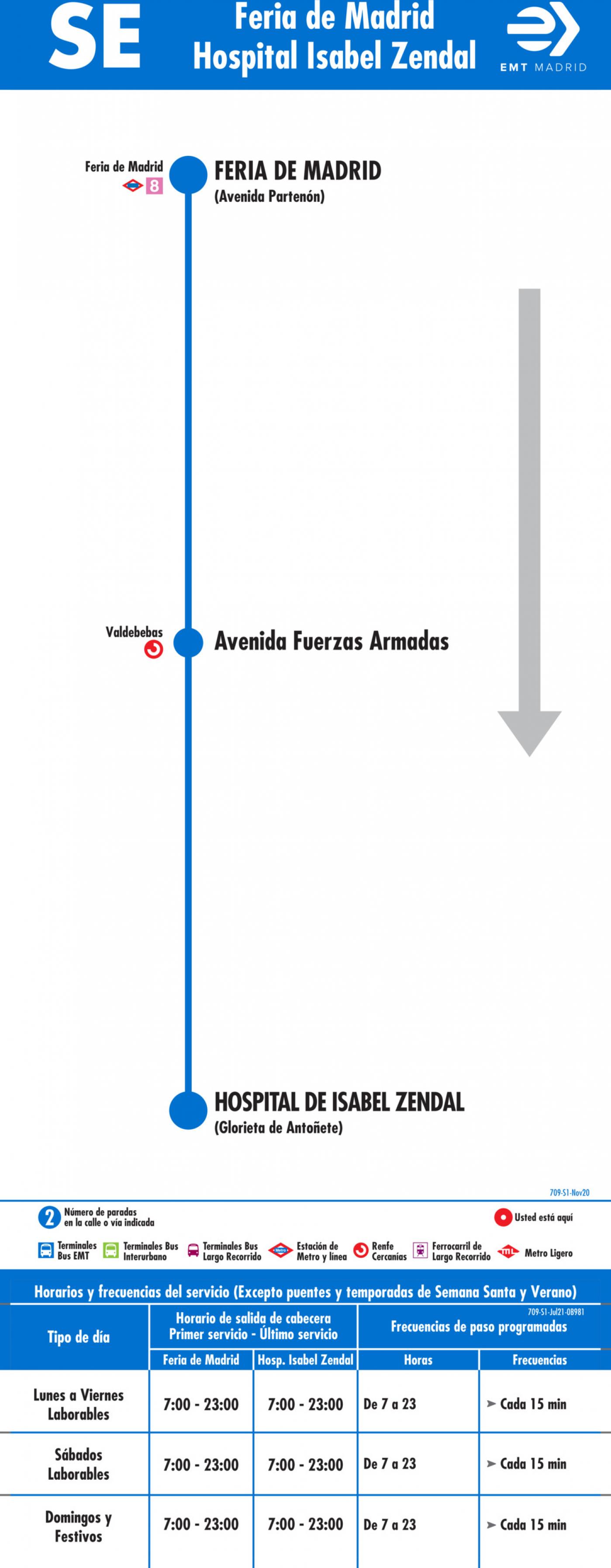 Tabla de horarios y frecuencias de paso en sentido ida Línea SE 709: Feria de Madrid - Hospital Isabel Zendal