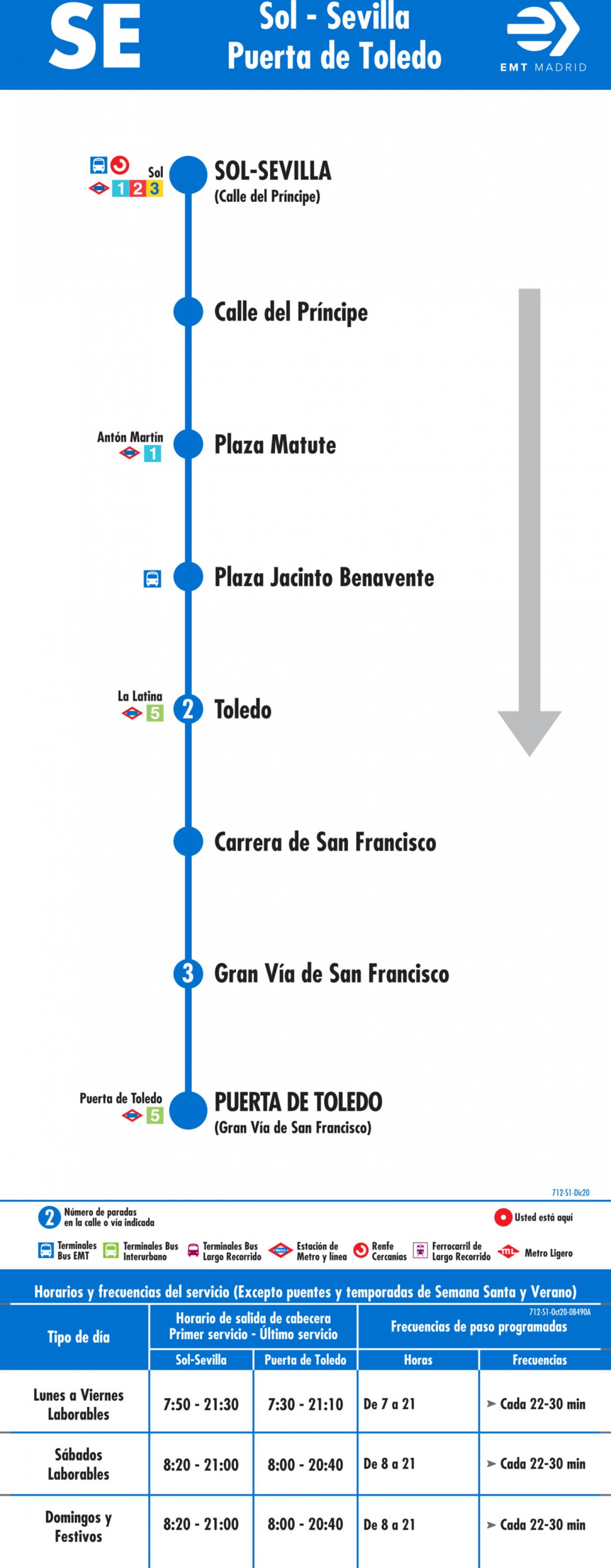 Tabla de horarios y frecuencias de paso en sentido ida Línea SE 712: Sol/Sevilla - Puerta de Toledo