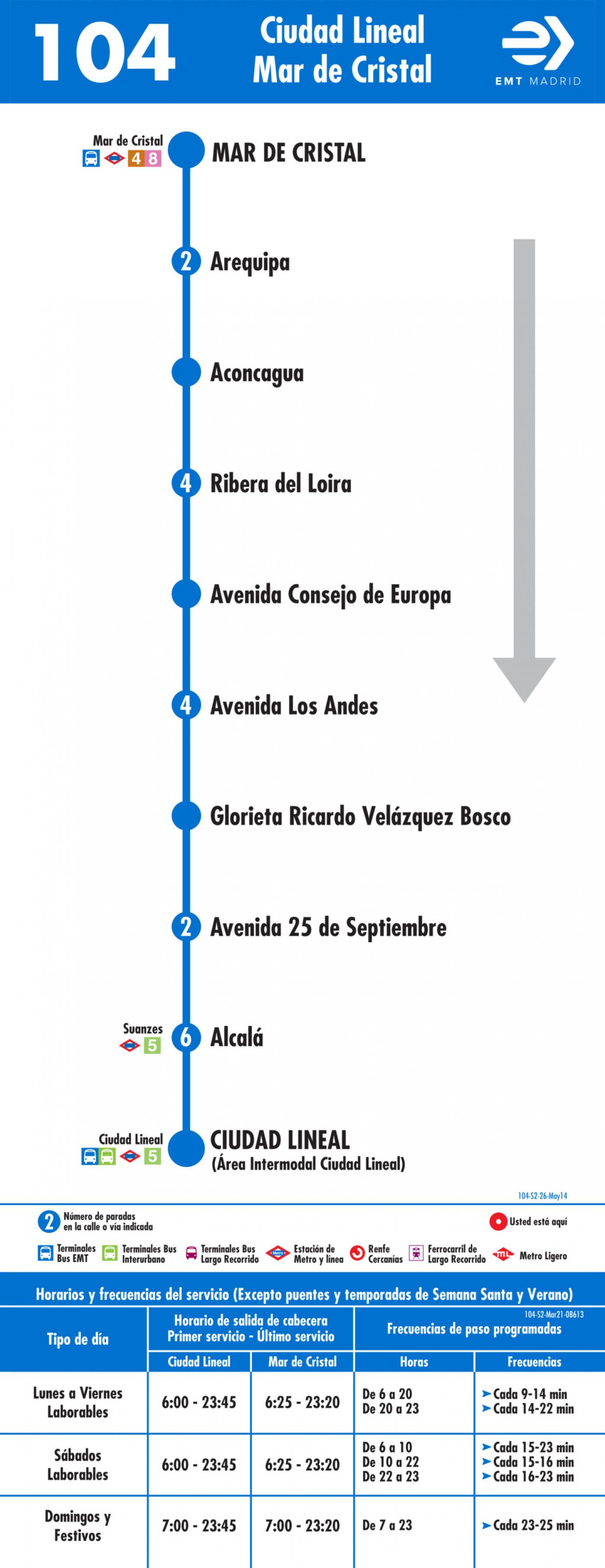 Tabla de horarios y frecuencias de paso en sentido vuelta Línea 104: Plaza de Ciudad Lineal - Mar de Cristal