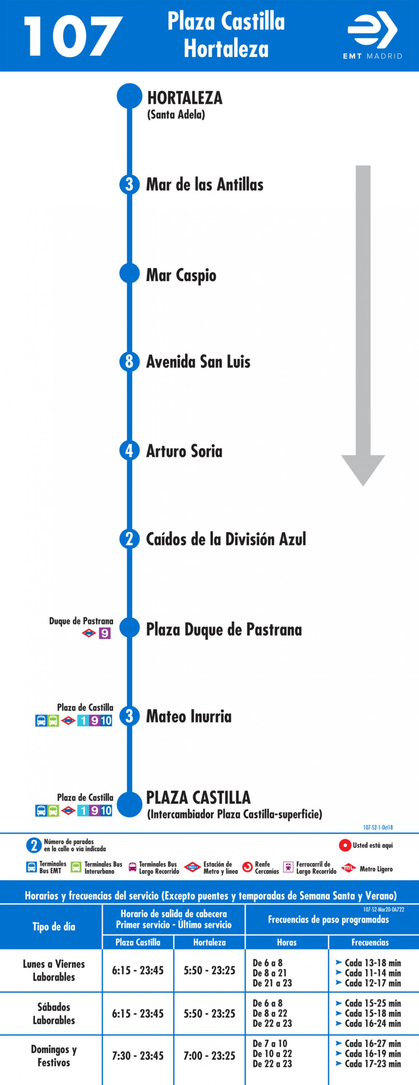 Tabla de horarios y frecuencias de paso en sentido vuelta Línea 107: Plaza de Castilla - Hortaleza