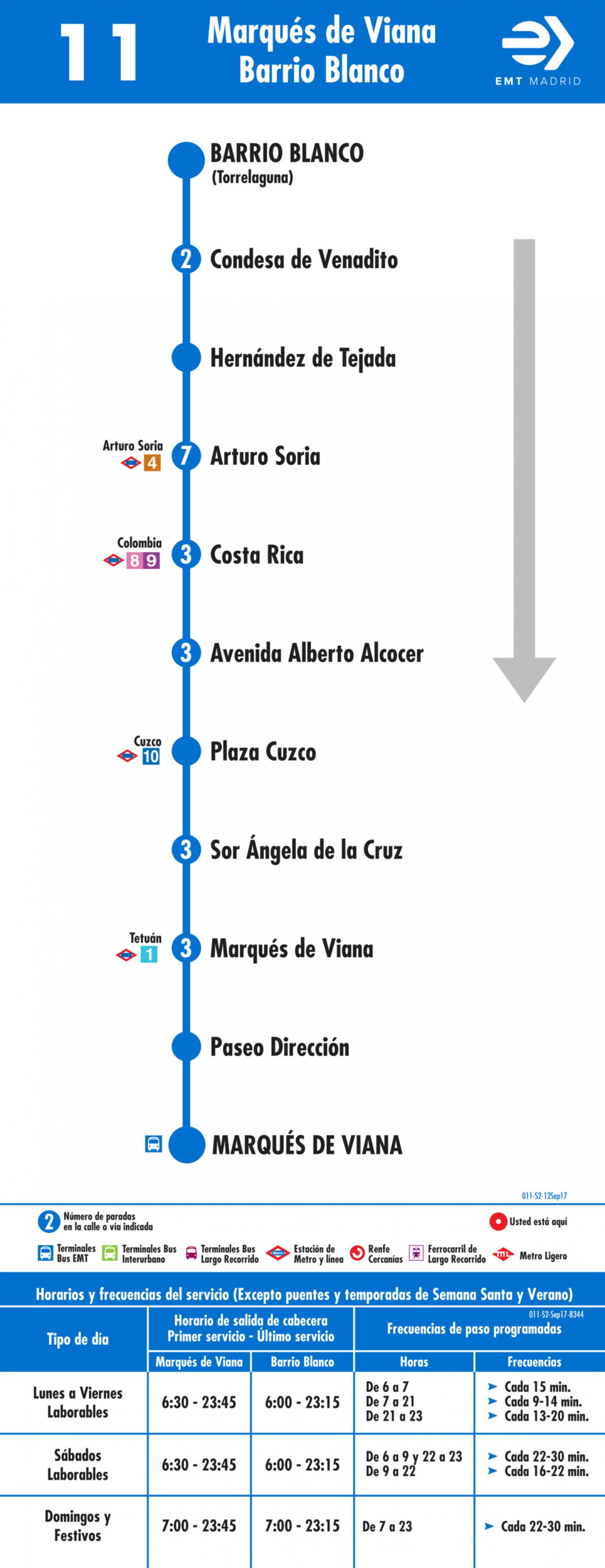 Tabla de horarios y frecuencias de paso en sentido vuelta Línea 11: Marqués de Viana - Barrio Blanco