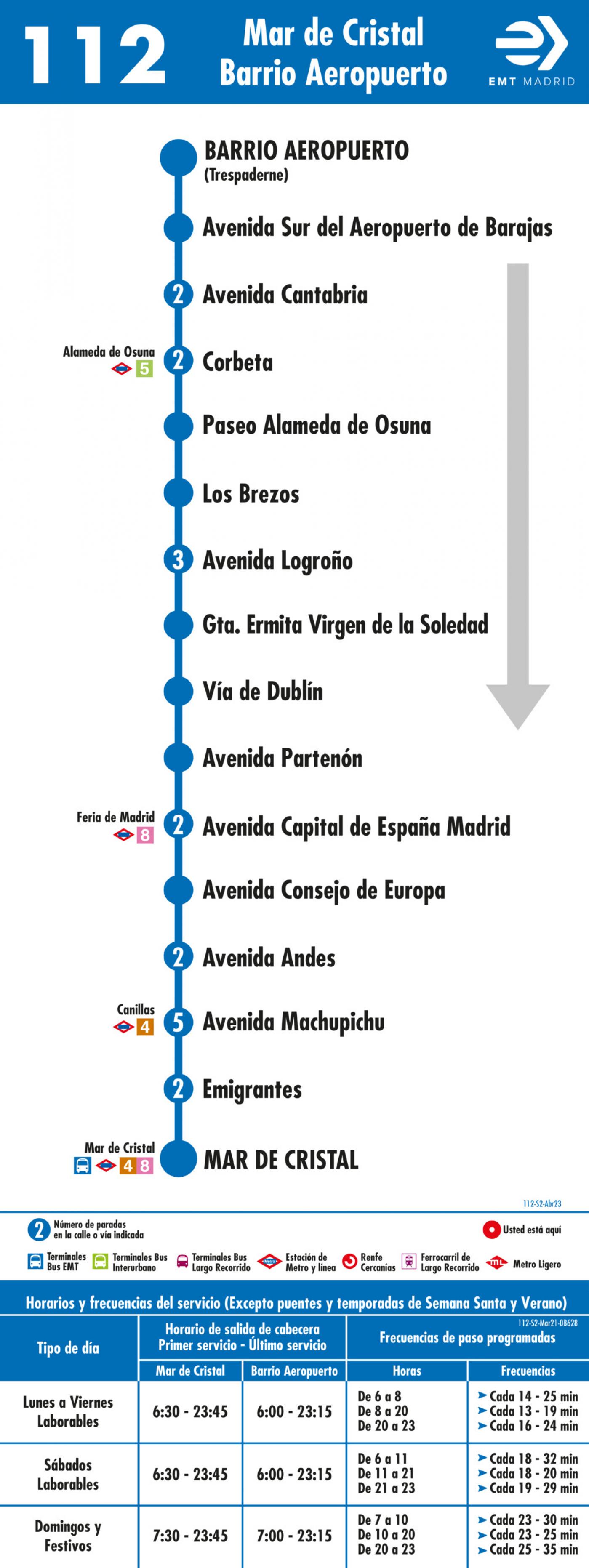 Tabla de horarios y frecuencias de paso en sentido vuelta Línea 112: Mar de Cristal - Barrio del Aeropuerto