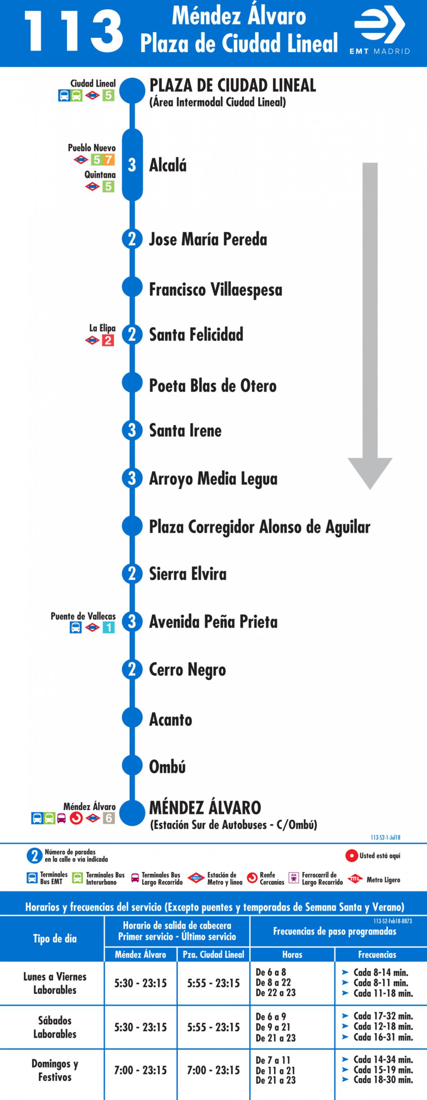 Tabla de horarios y frecuencias de paso en sentido vuelta Línea 113: Méndez Álvaro - Plaza de Ciudad Lineal