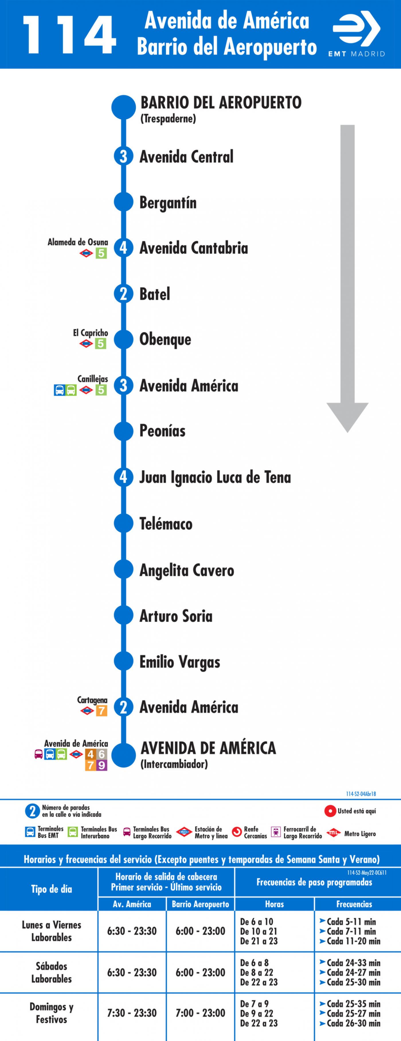 Tabla de horarios y frecuencias de paso en sentido vuelta Línea 114: Avenida de América - Barrio del Aeropuerto