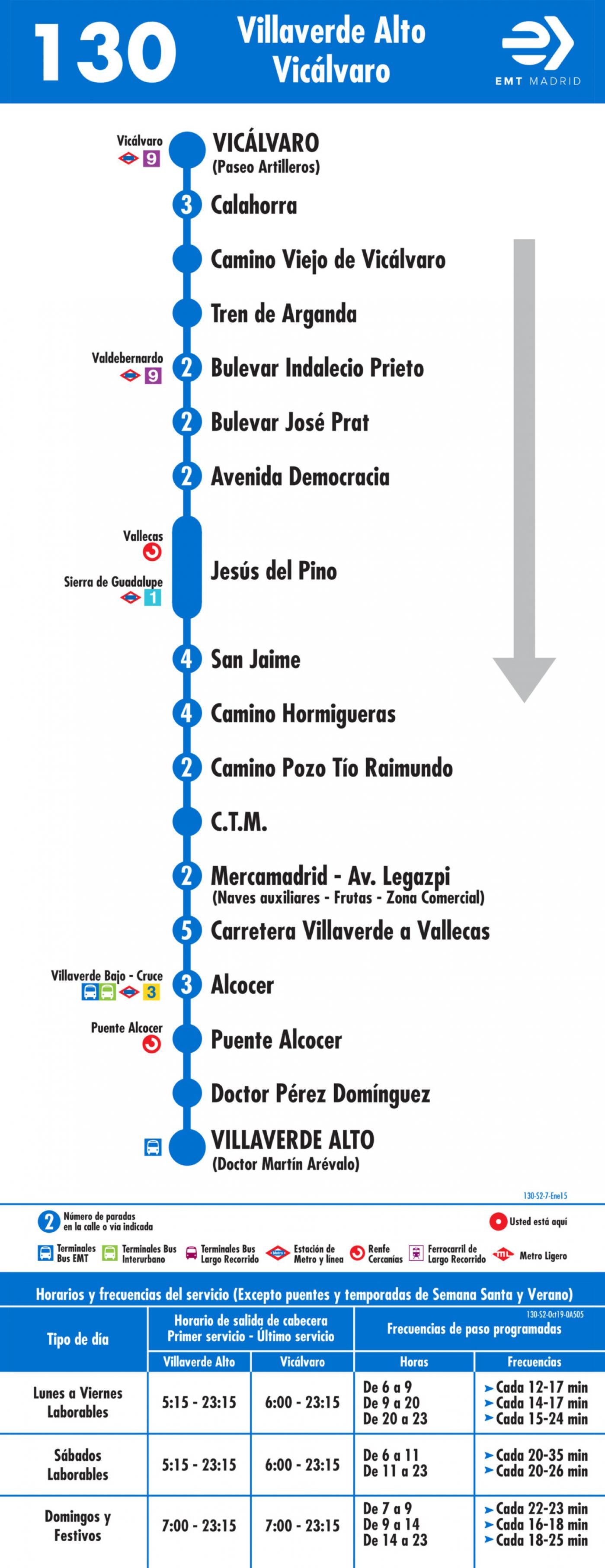 Tabla de horarios y frecuencias de paso en sentido vuelta Línea 130: Villaverde Alto - Vicálvaro