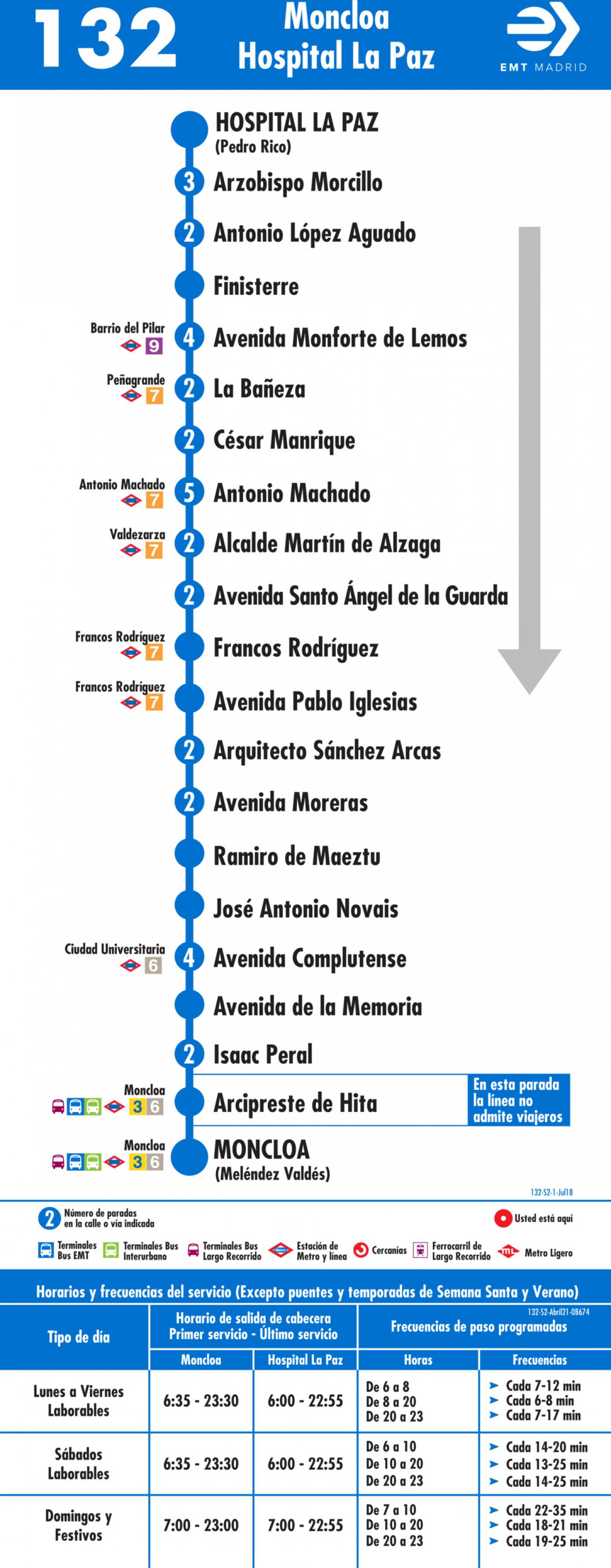 Tabla de horarios y frecuencias de paso en sentido vuelta Línea 132: Moncloa - Hospital la Paz