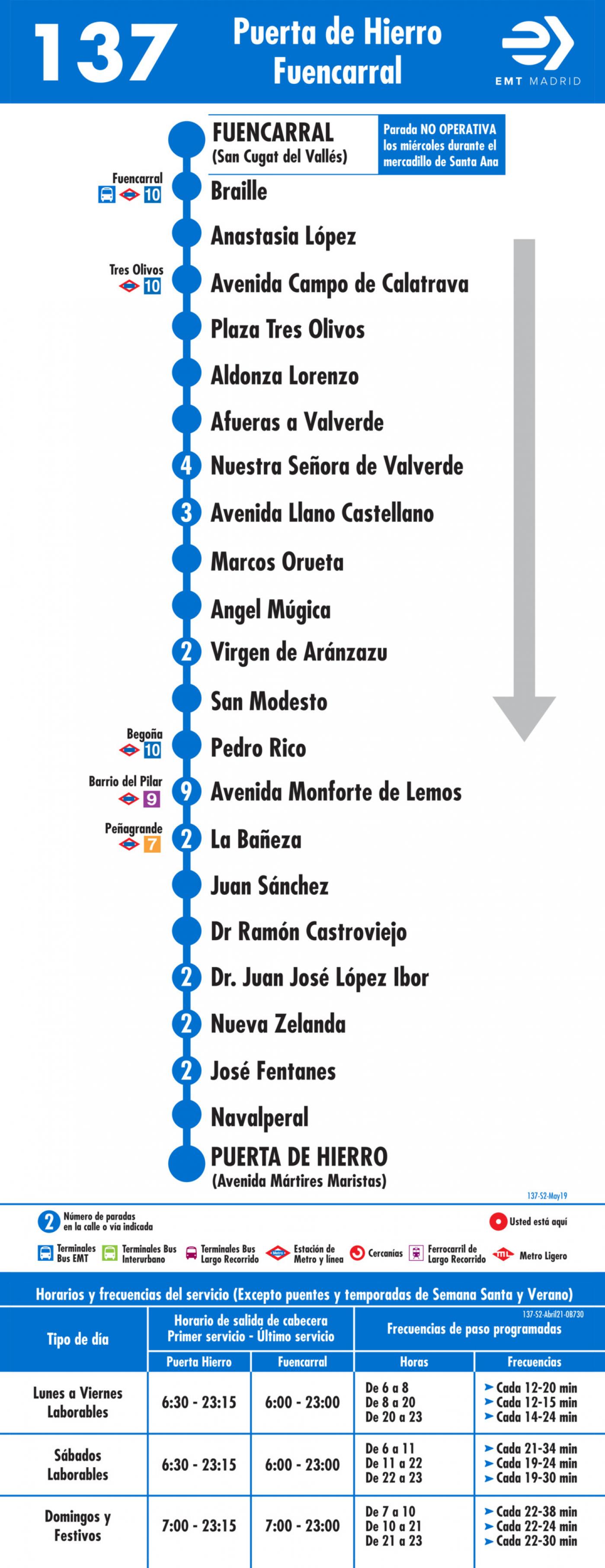Tabla de horarios y frecuencias de paso en sentido vuelta Línea 137: Ciudad Puerta de Hierro - Fuencarral