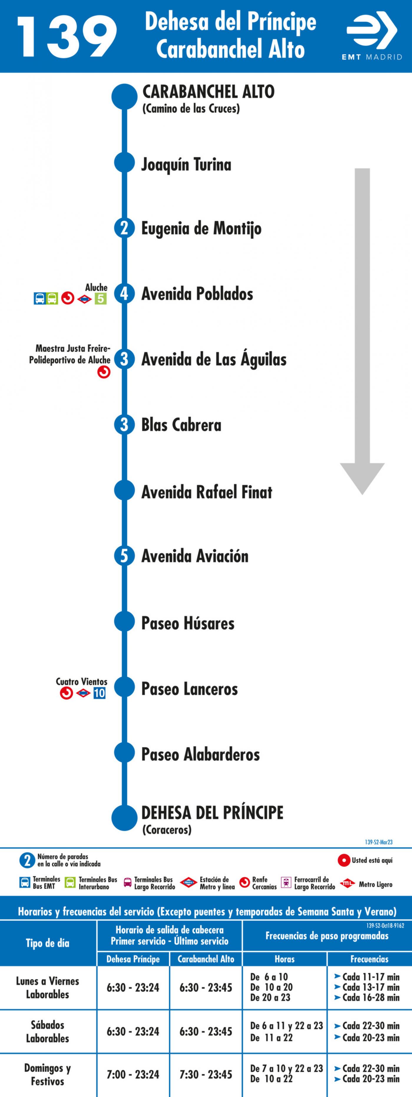 Tabla de horarios y frecuencias de paso en sentido vuelta Línea 139: Dehesa del Príncipe - Carabanchel Alto
