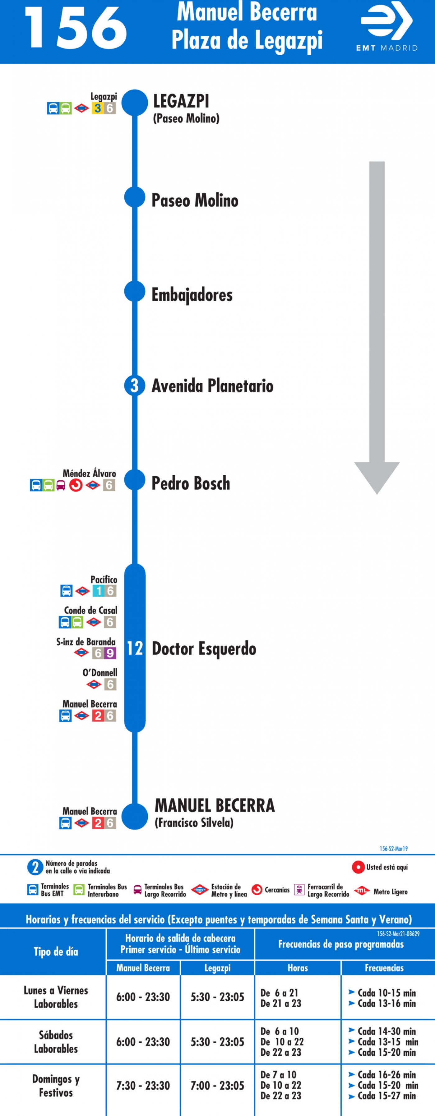 Tabla de horarios y frecuencias de paso en sentido vuelta Línea 156: Plaza de Manuel Becerra - Plaza de Legazpi