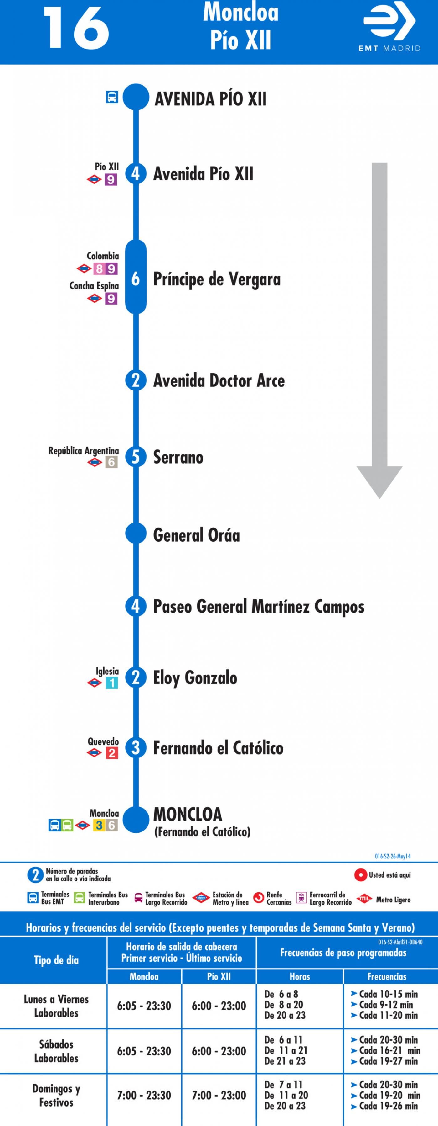 Tabla de horarios y frecuencias de paso en sentido vuelta Línea 16: Moncloa - Avenida de Pío XII