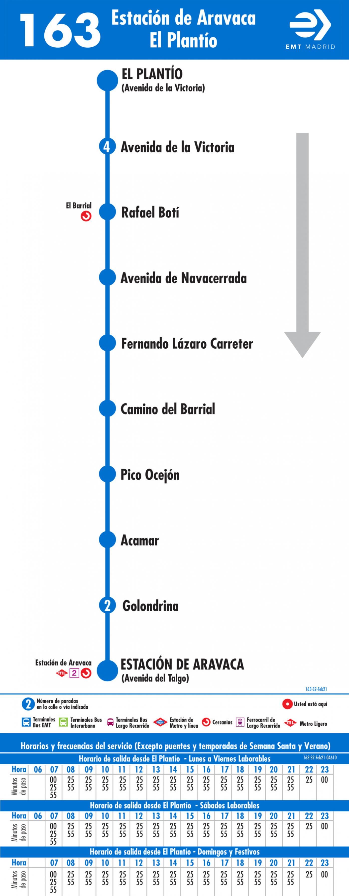 Tabla de horarios y frecuencias de paso en sentido vuelta Línea 163: Estación de Aravaca - El Plantío
