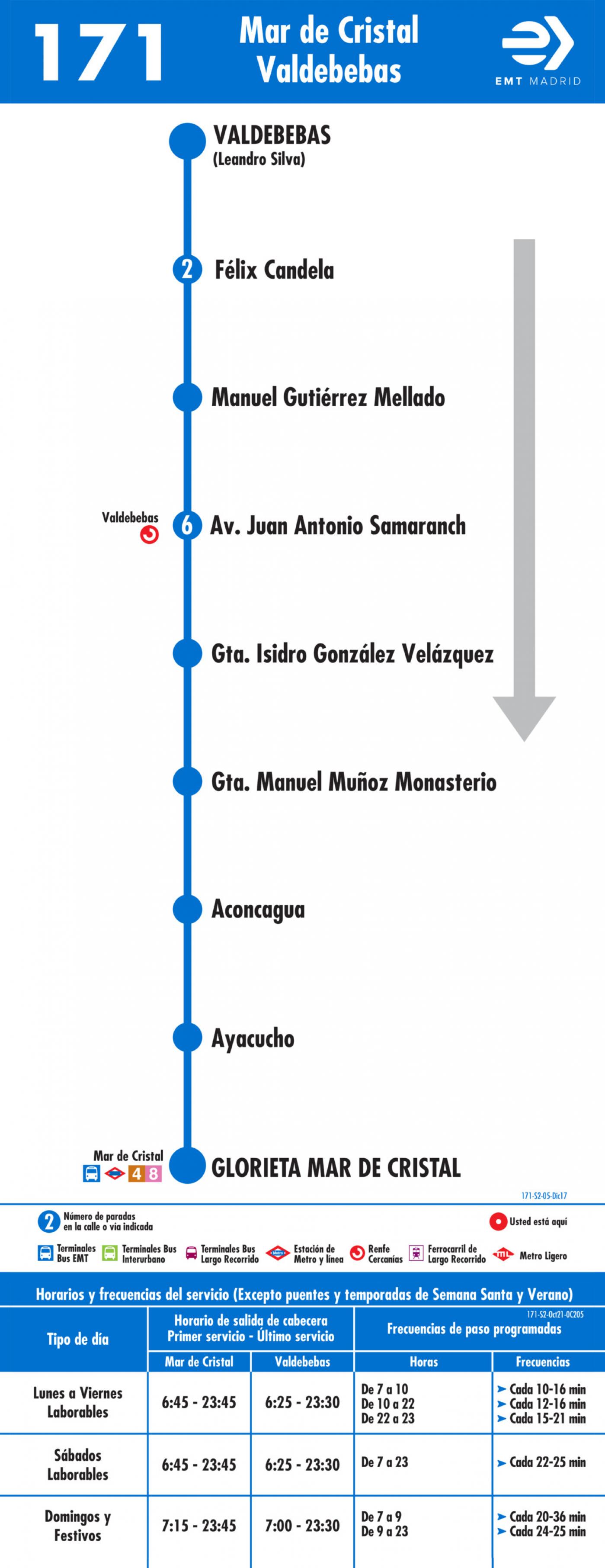 Tabla de horarios y frecuencias de paso en sentido vuelta Línea 171: Mar de Cristal - Valdebebas