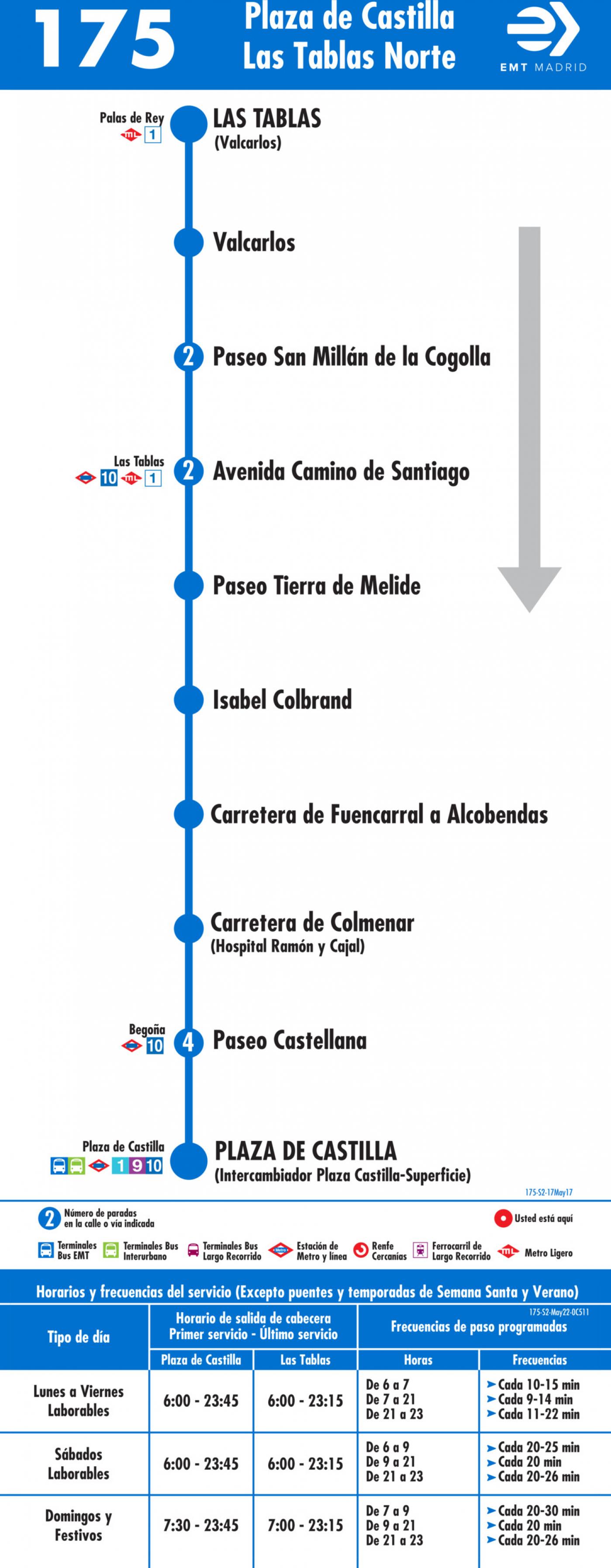 Tabla de horarios y frecuencias de paso en sentido vuelta Línea 175: Plaza Castilla - Las Tablas Norte