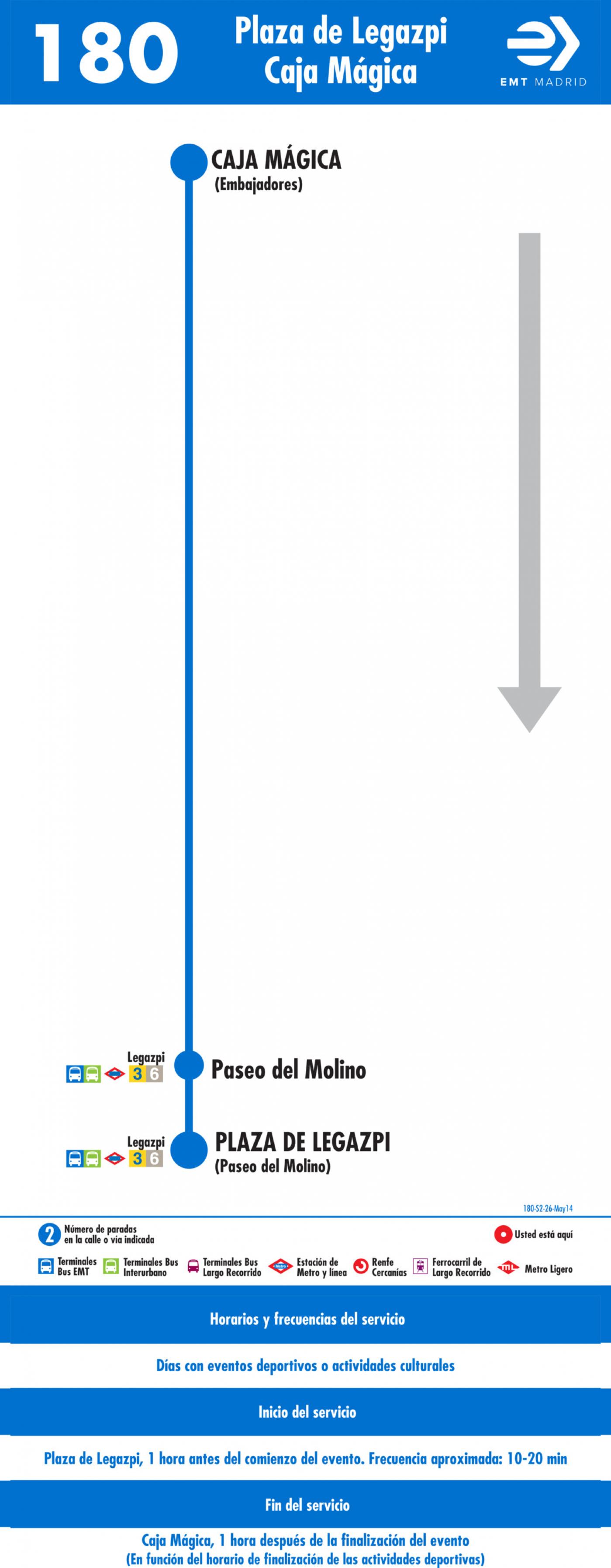 Tabla de horarios y frecuencias de paso en sentido vuelta Línea 180: Legazpi - Caja Mágica