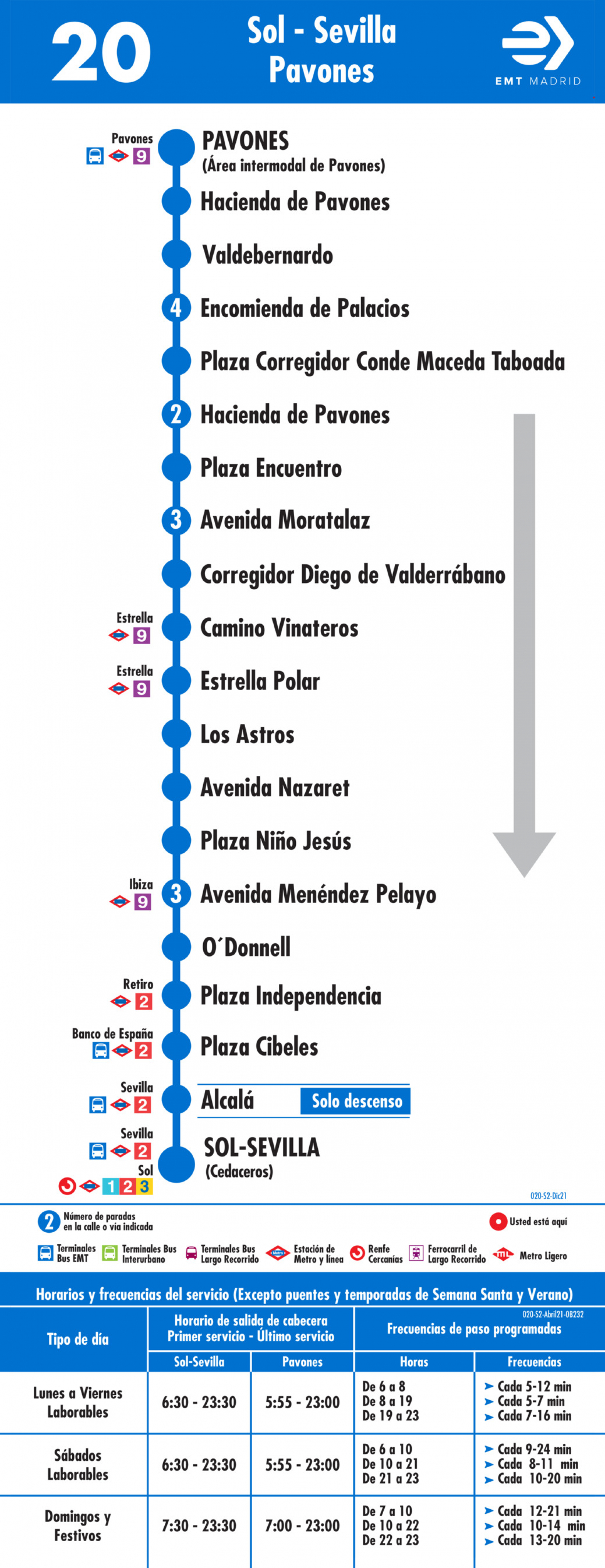 Tabla de horarios y frecuencias de paso en sentido vuelta Línea 20: Puerta del Sol - Pavones