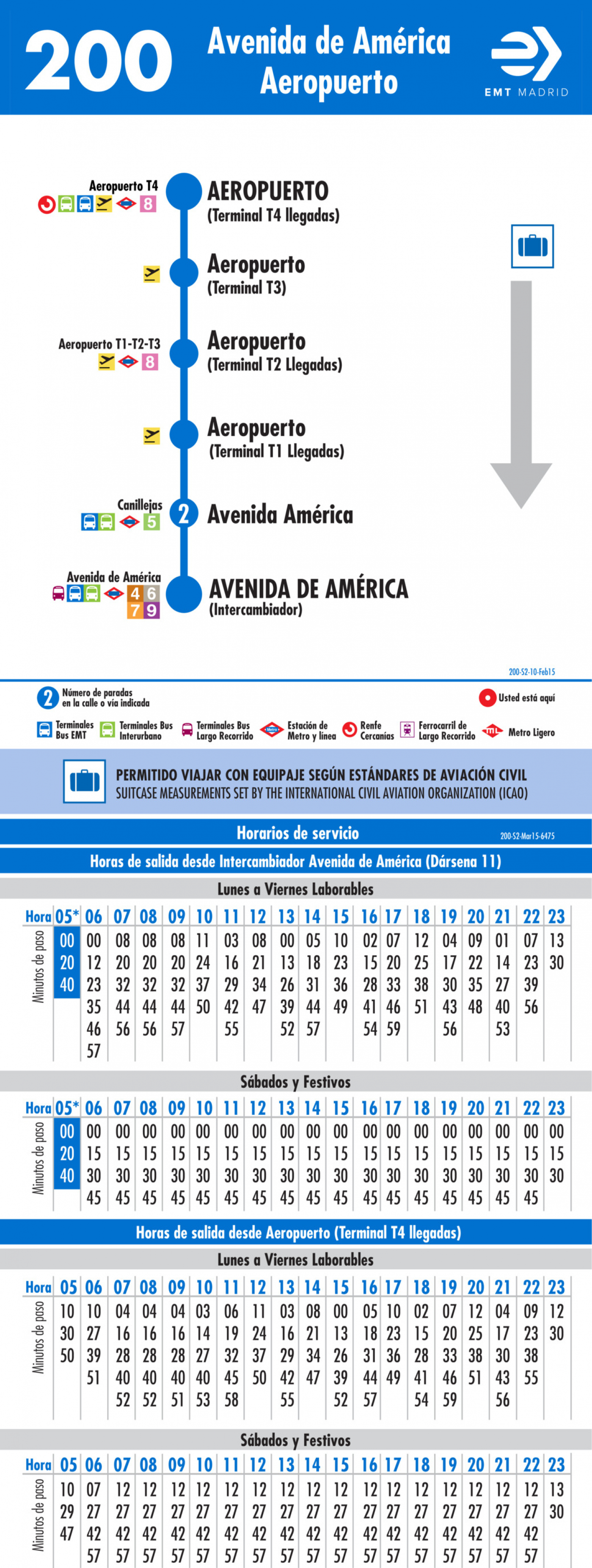 Tabla de horarios y frecuencias de paso en sentido vuelta Línea 200: Avenida de América - Aeropuerto