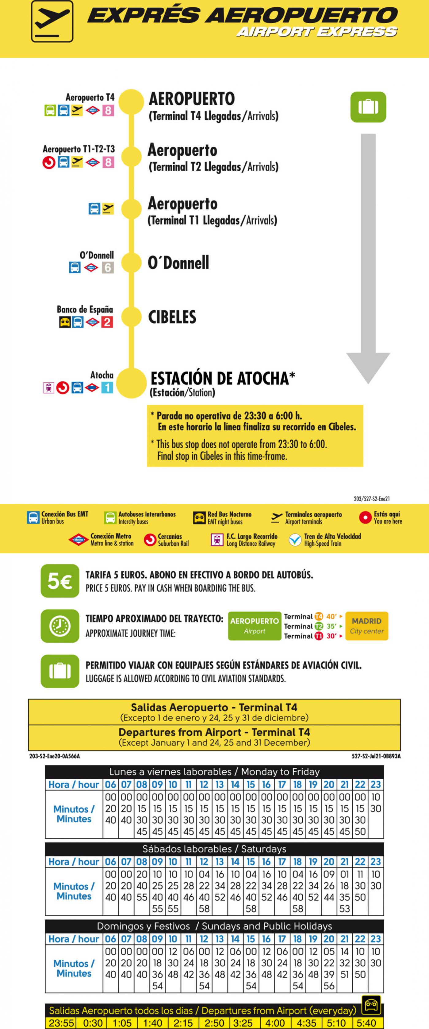 Tabla de horarios y frecuencias de paso en sentido vuelta Línea 203: Exprés Aeropuerto Barajas