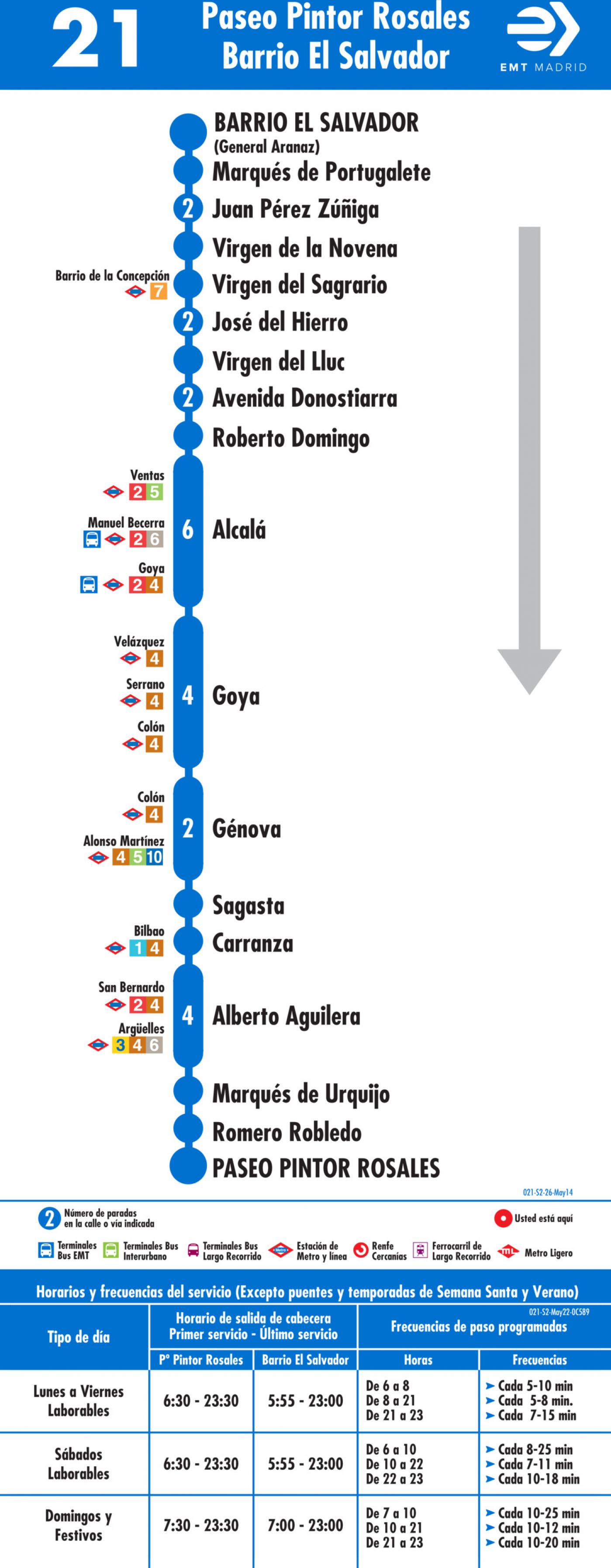 Tabla de horarios y frecuencias de paso en sentido vuelta Línea 21: Paseo del Pintor Rosales - Barrio del Salvador