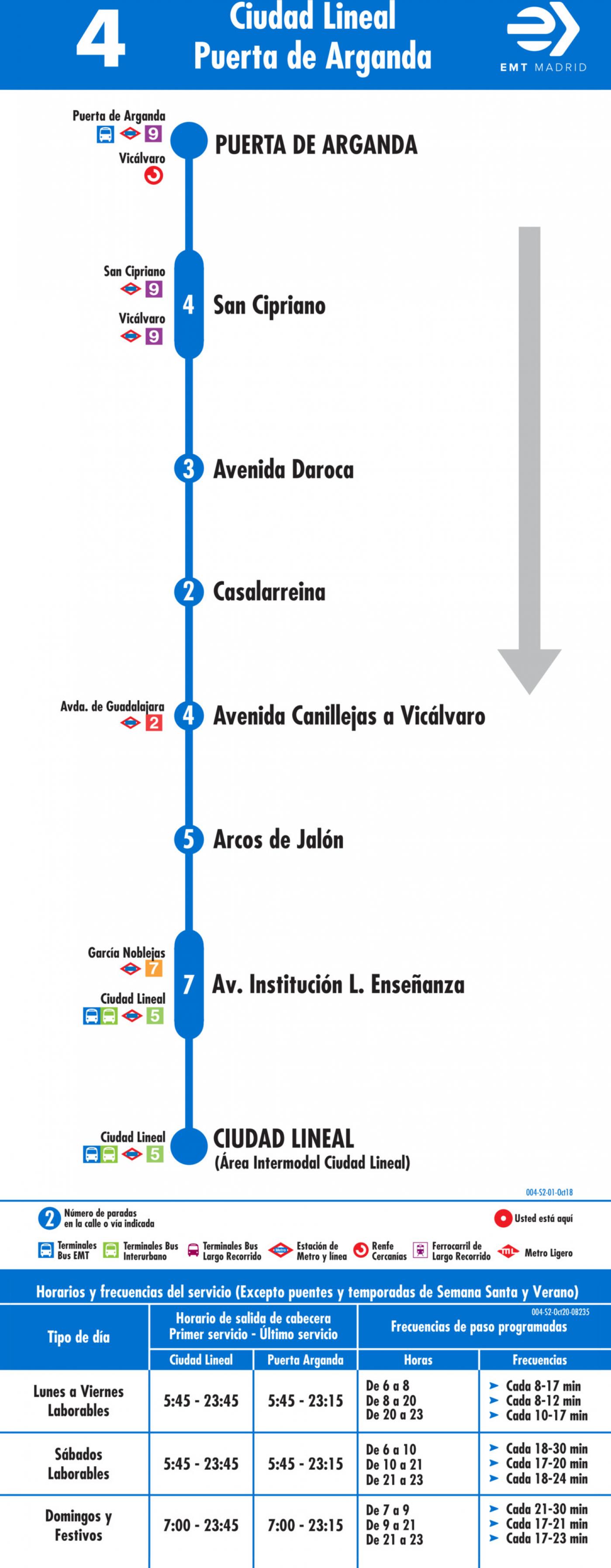 Tabla de horarios y frecuencias de paso en sentido vuelta Línea 4: Plaza de Ciudad Lineal - Puerta de Arganda