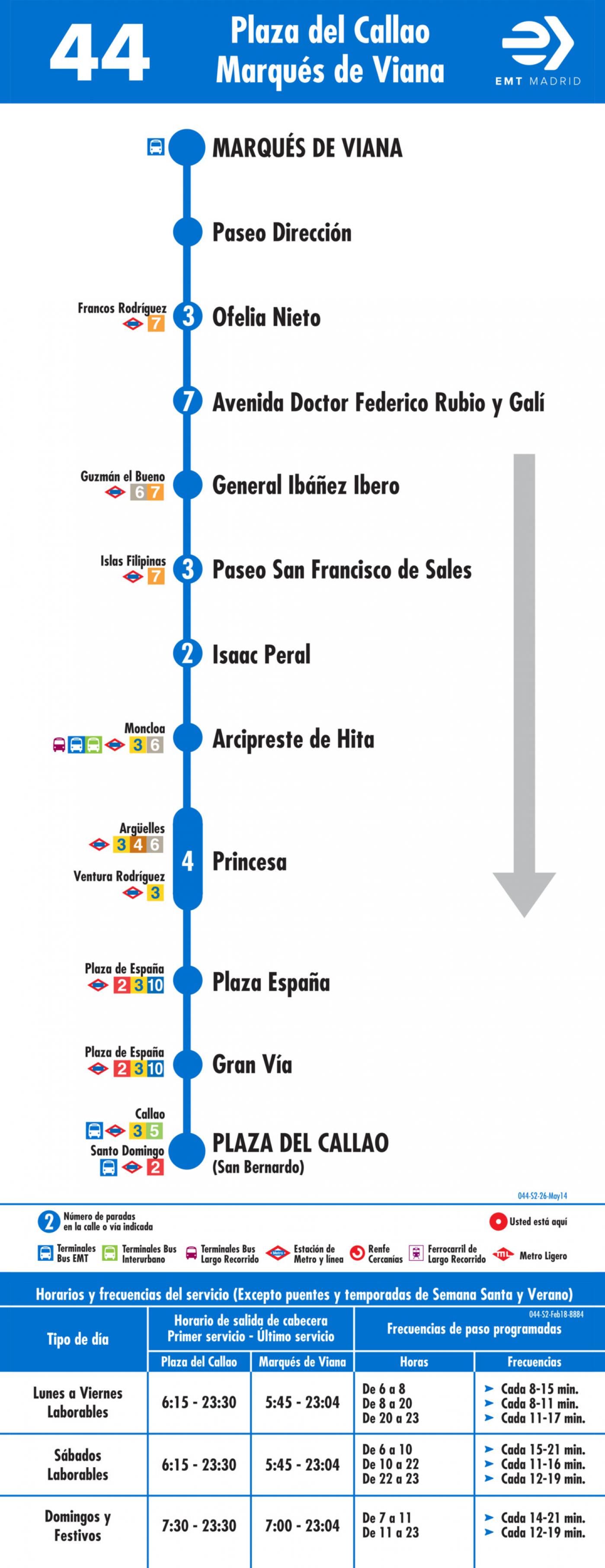 Tabla de horarios y frecuencias de paso en sentido vuelta Línea 44: Plaza del Callao - Marqués de Viana