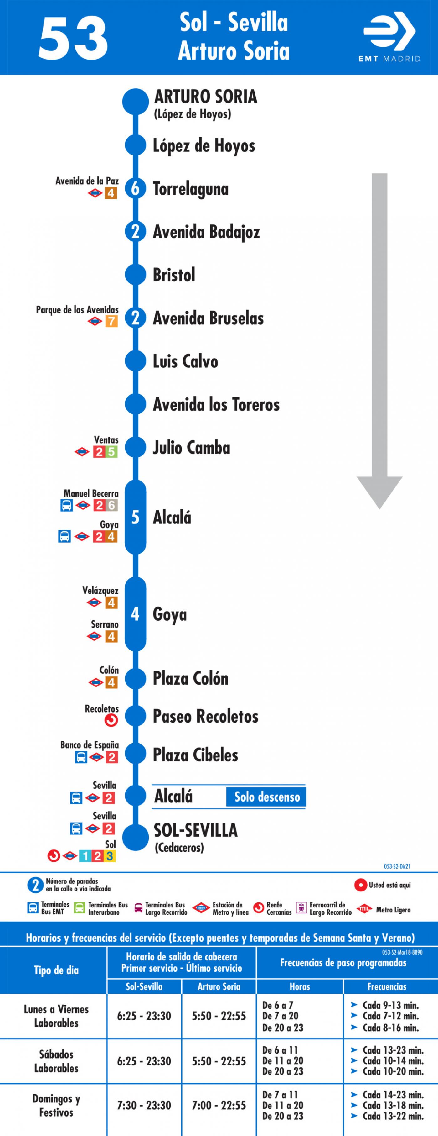 Tabla de horarios y frecuencias de paso en sentido vuelta Línea 53: Puerta del Sol - Parque San Juan Bautista