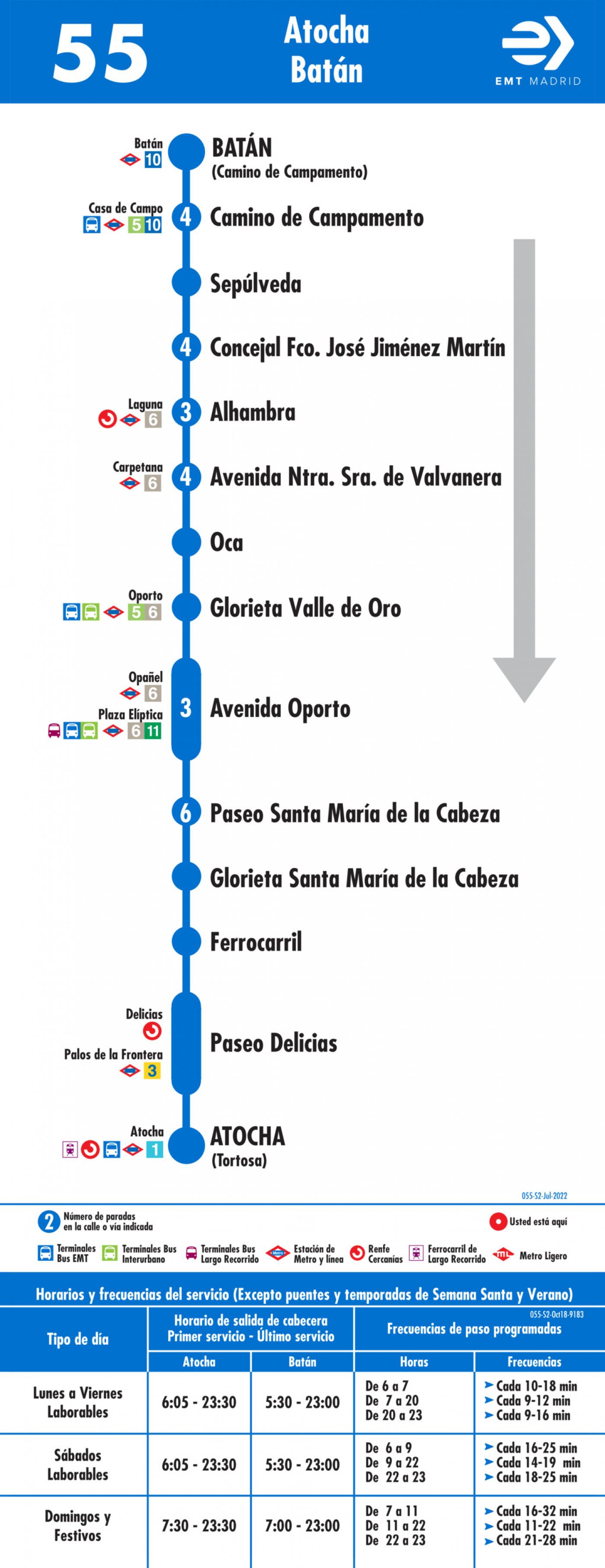 Tabla de horarios y frecuencias de paso en sentido vuelta Línea 55: Atocha - Batán