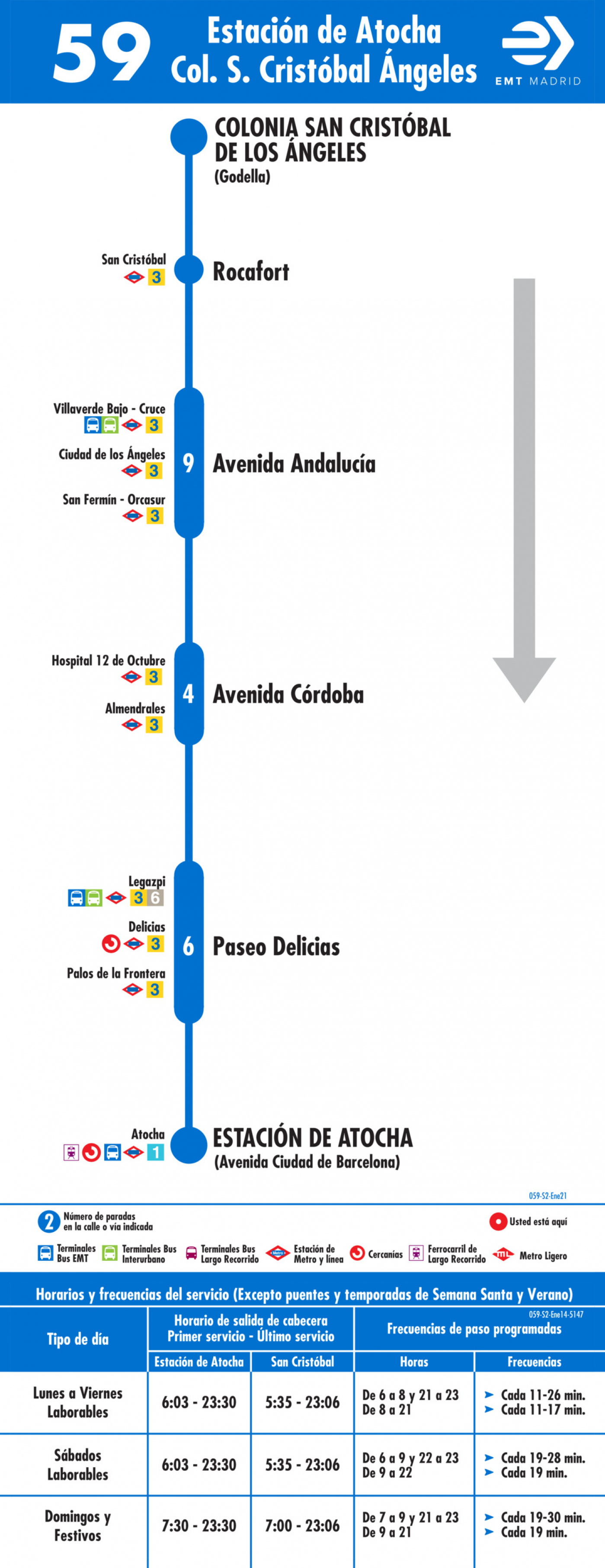 Tabla de horarios y frecuencias de paso en sentido vuelta Línea 59: Atocha - Colonia San Cristóbal de los Ángeles