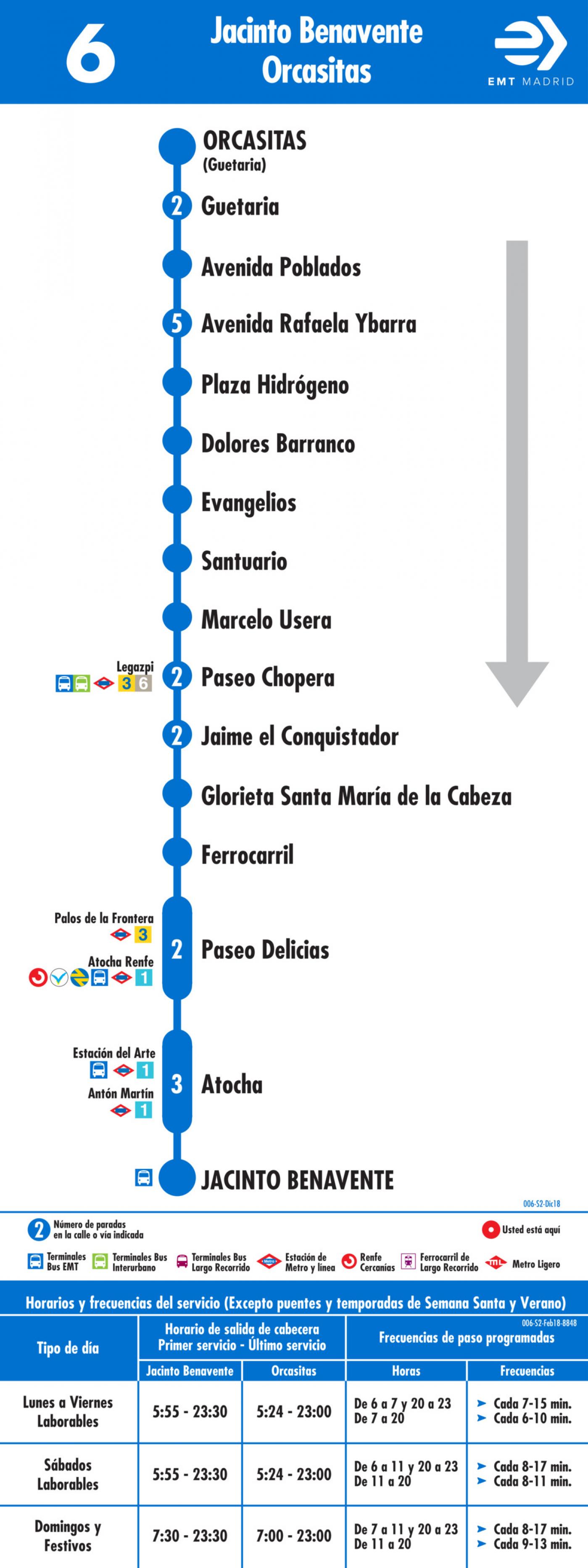 Tabla de horarios y frecuencias de paso en sentido vuelta Línea 6: Plaza de Benavente - Orcasitas