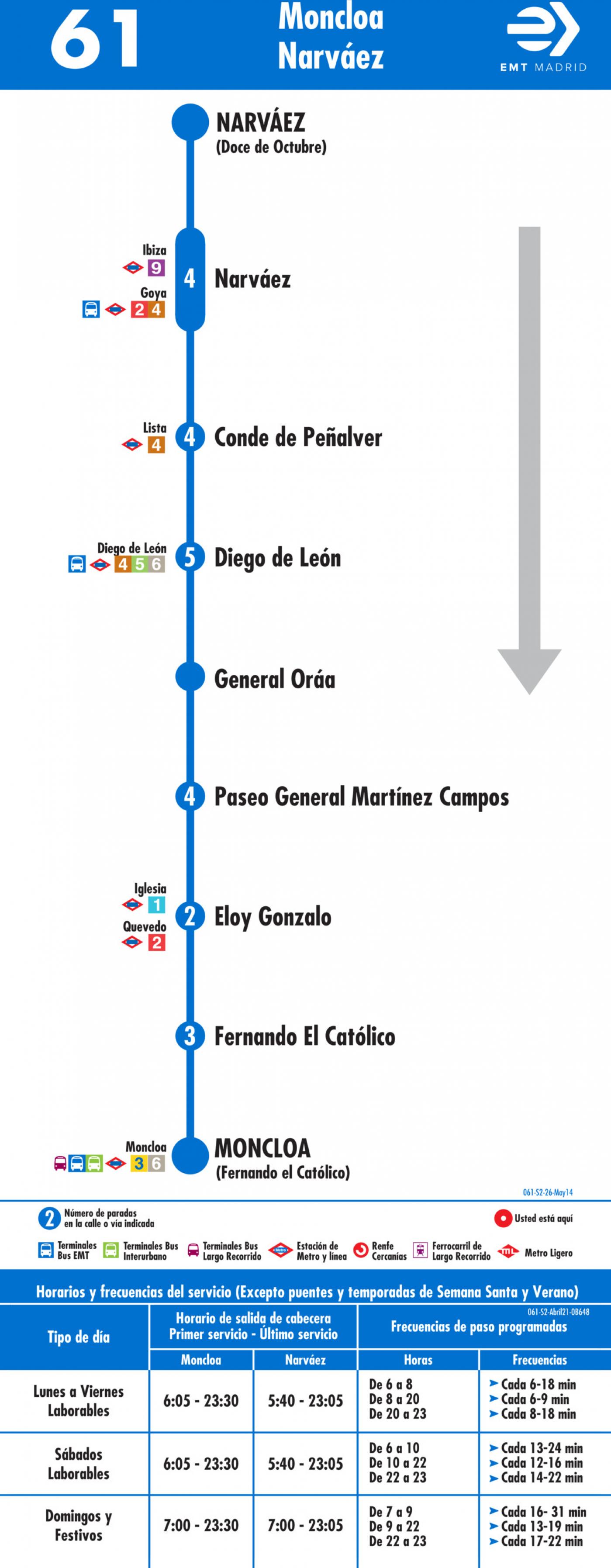 Tabla de horarios y frecuencias de paso en sentido vuelta Línea 61: Moncloa - Narváez