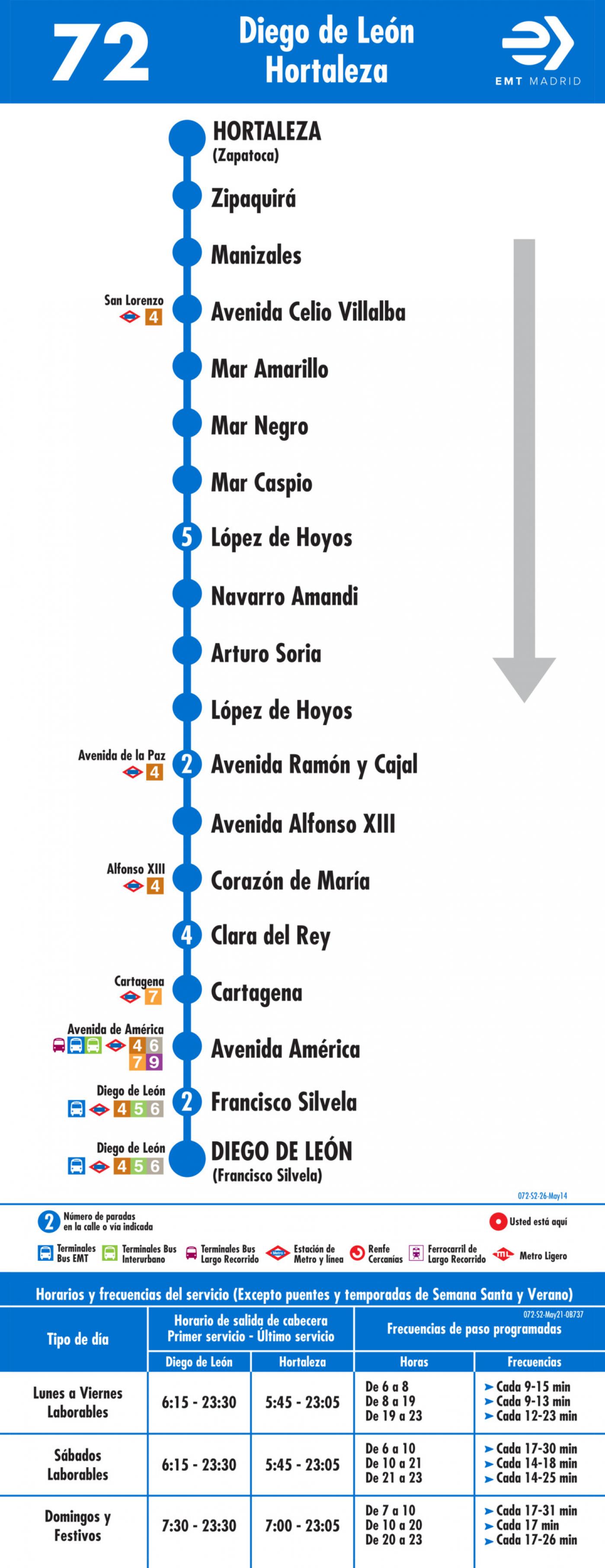 Tabla de horarios y frecuencias de paso en sentido vuelta Línea 72: Diego de León-Hortaleza