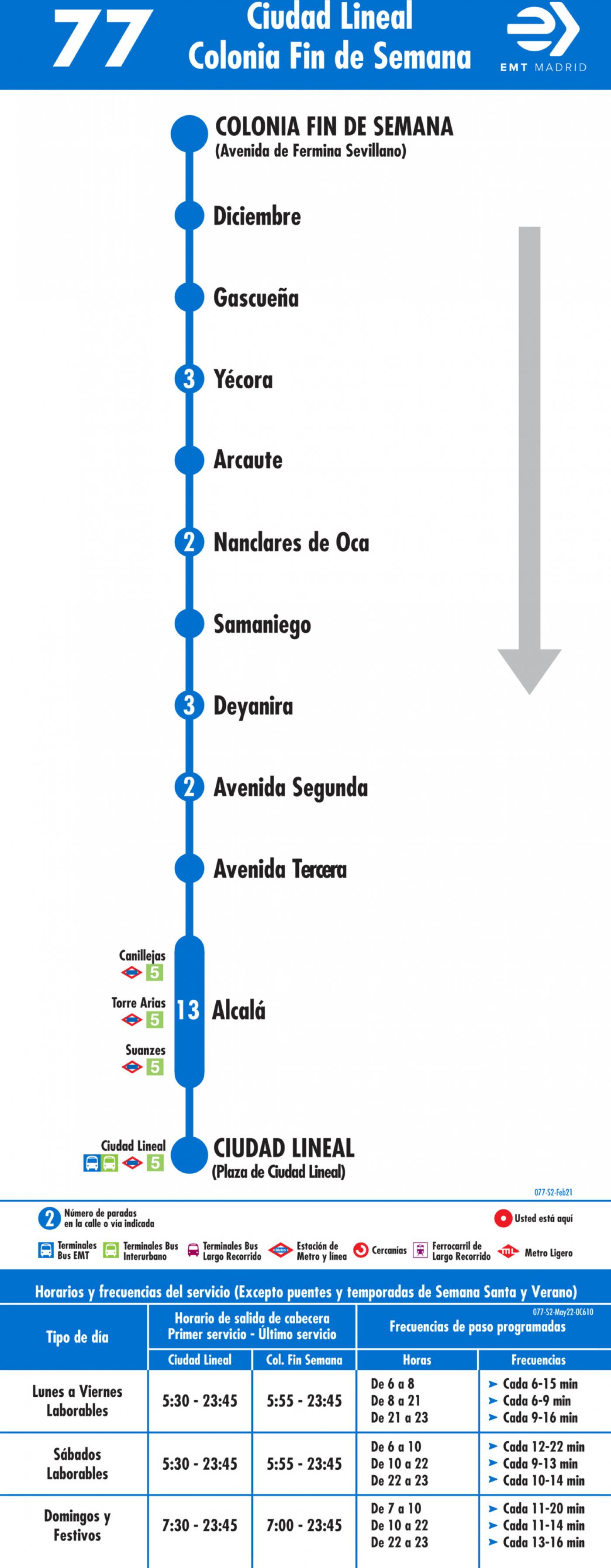 Tabla de horarios y frecuencias de paso en sentido vuelta Línea 77: Plaza de Ciudad Lineal - Colonia Fin de Semana