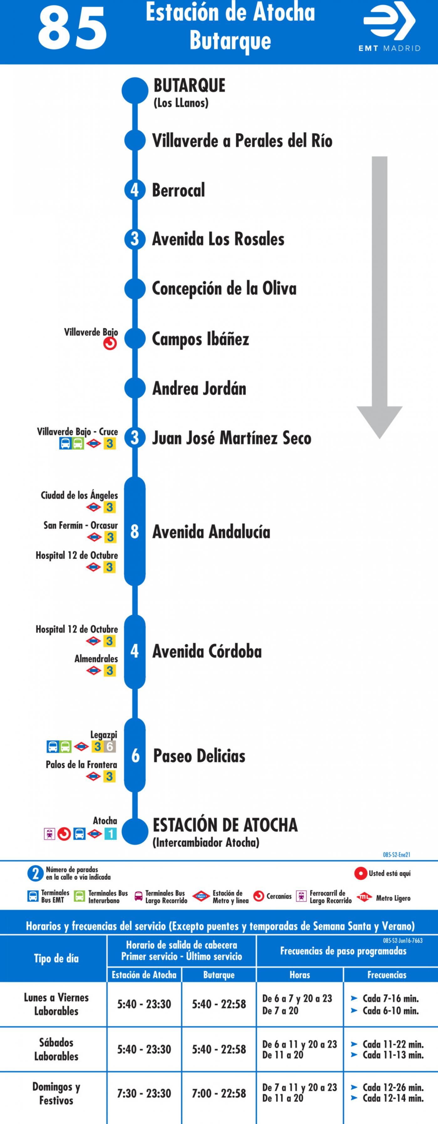 Tabla de horarios y frecuencias de paso en sentido vuelta Línea 85: Atocha - Barrio de los Rosales