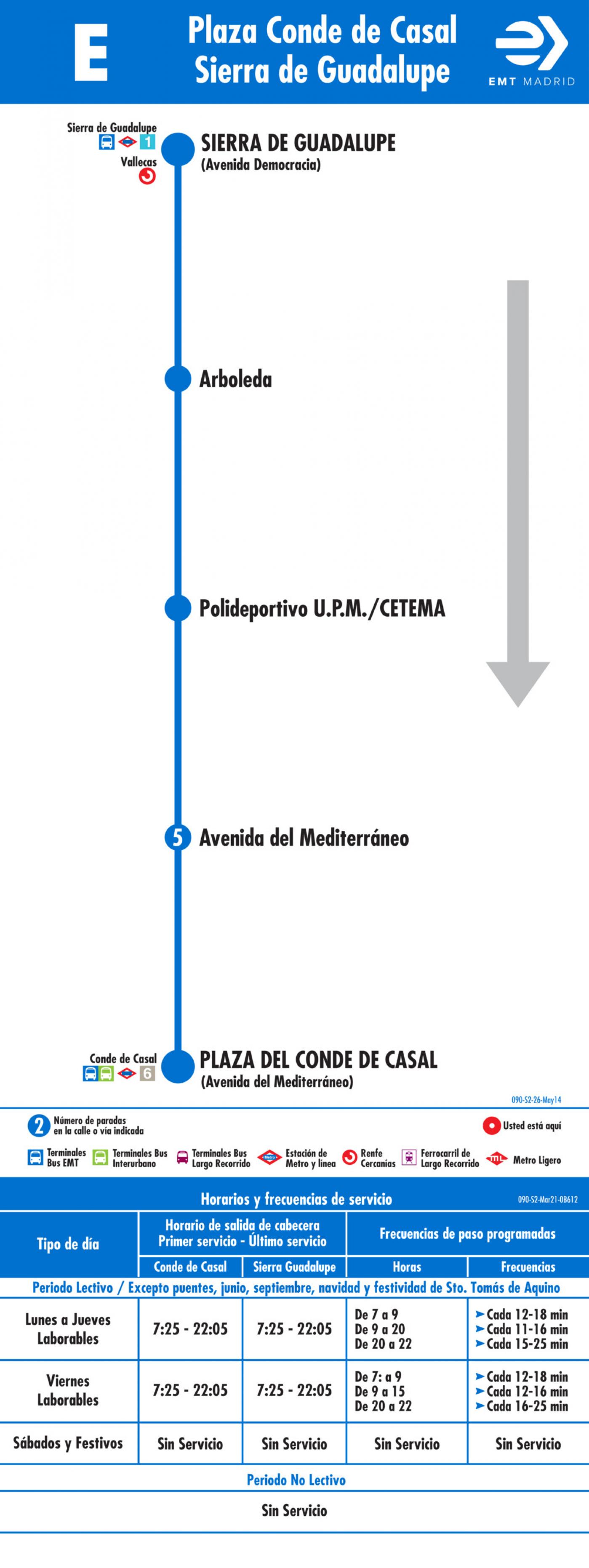 Tabla de horarios y frecuencias de paso en sentido vuelta Línea E: Plaza del Conde de Casal - Politécnico de Vallecas