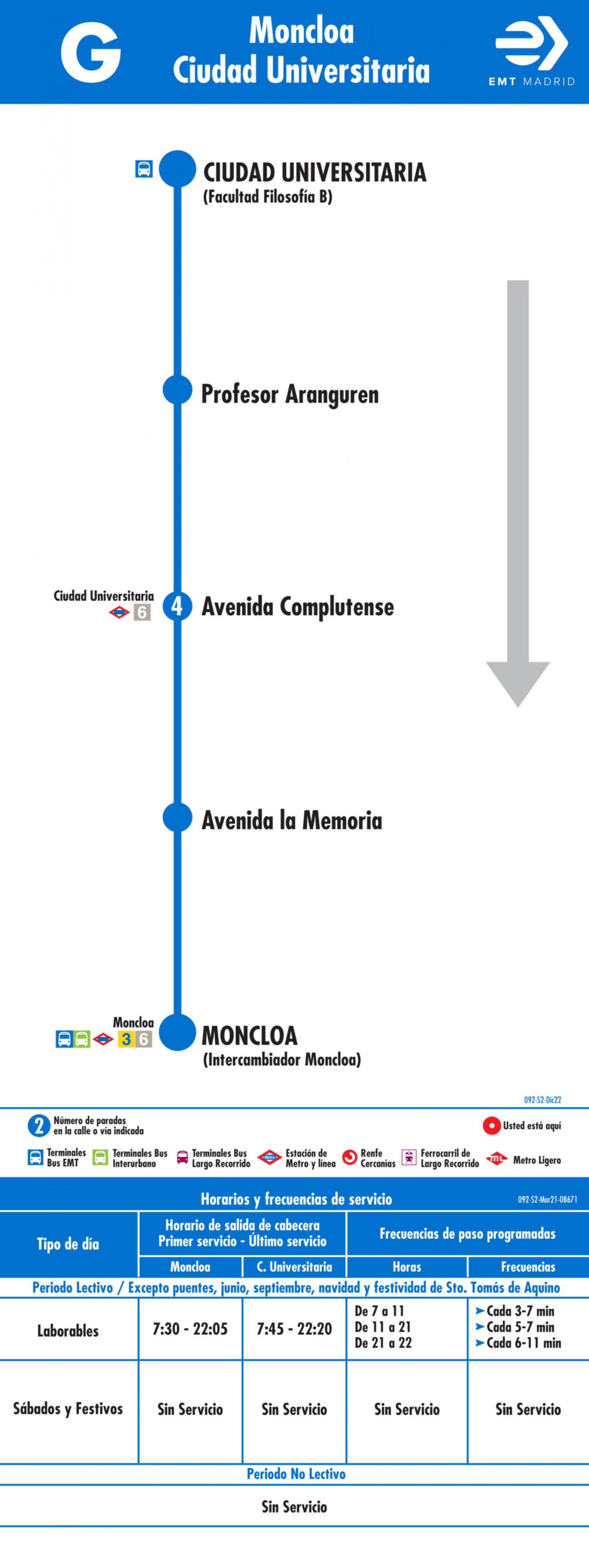 Tabla de horarios y frecuencias de paso en sentido vuelta Línea G: Moncloa - Ciudad Universitaria