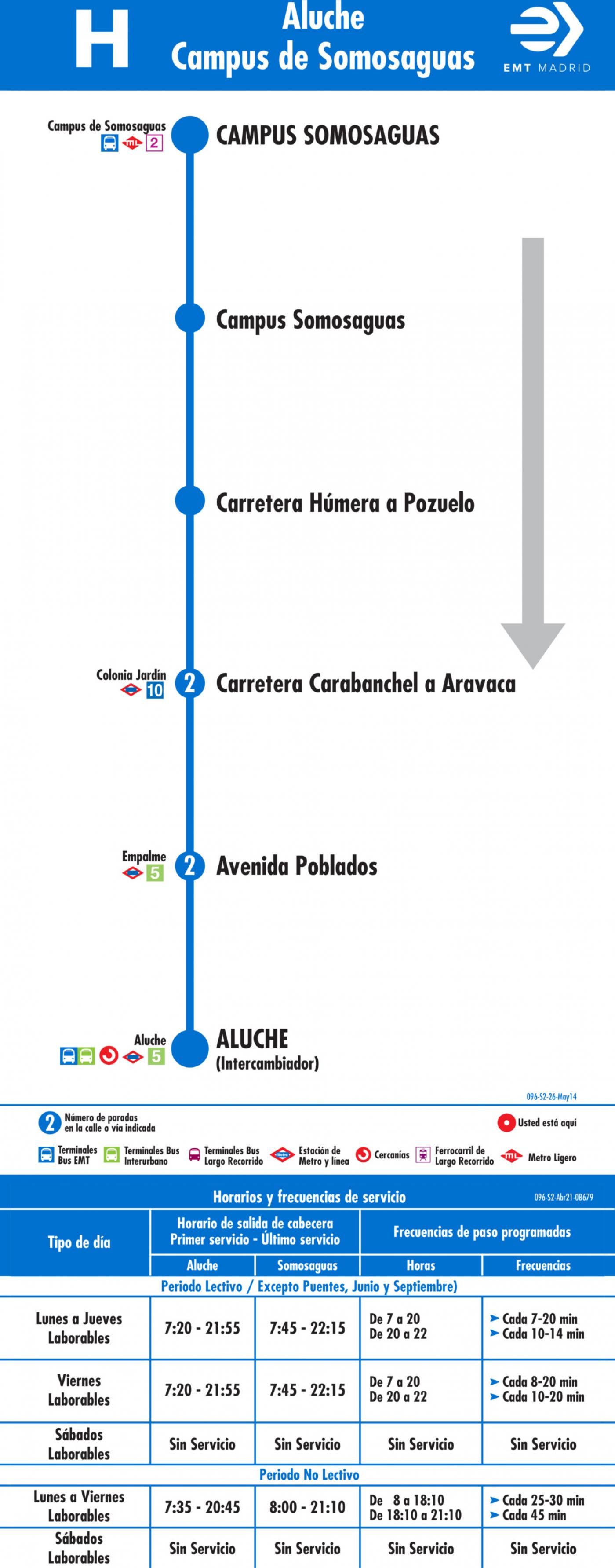 Tabla de horarios y frecuencias de paso en sentido vuelta Línea H: Aluche - Campus de Somosaguas