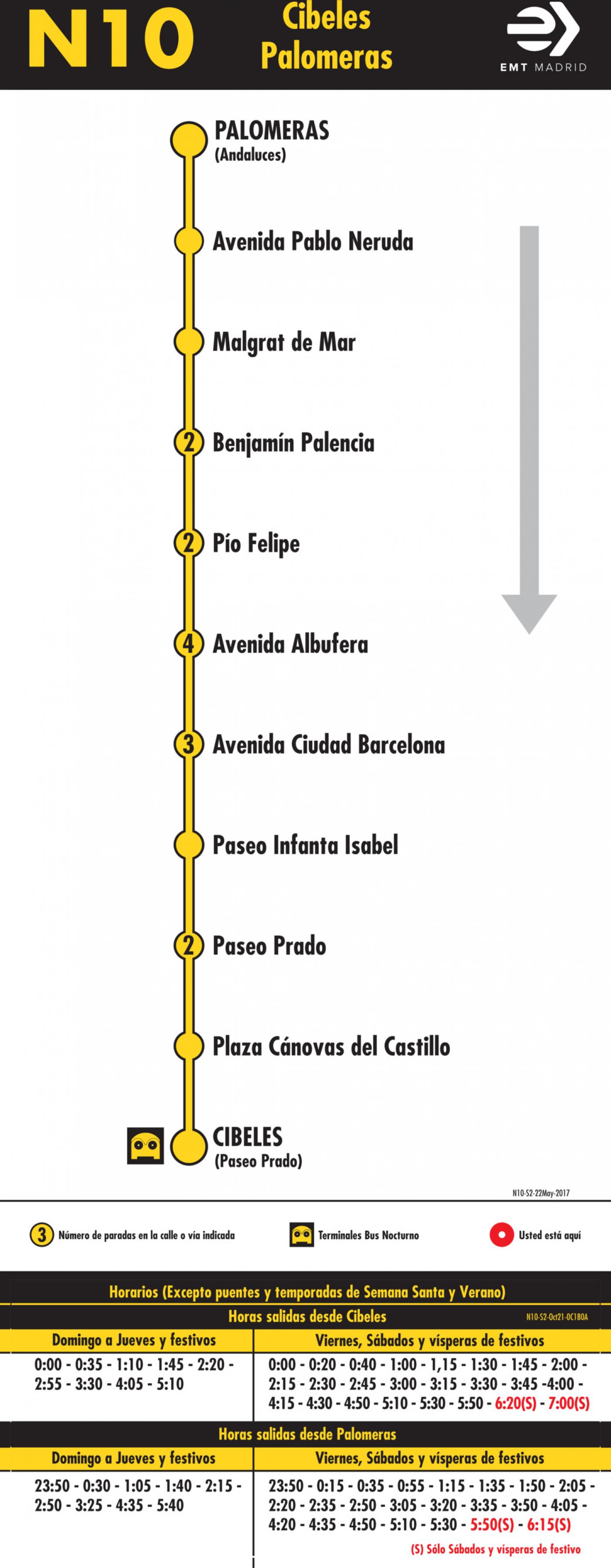 Tabla de horarios y frecuencias de paso en sentido vuelta Línea N10: Plaza de Cibeles - Palomeras (búho)